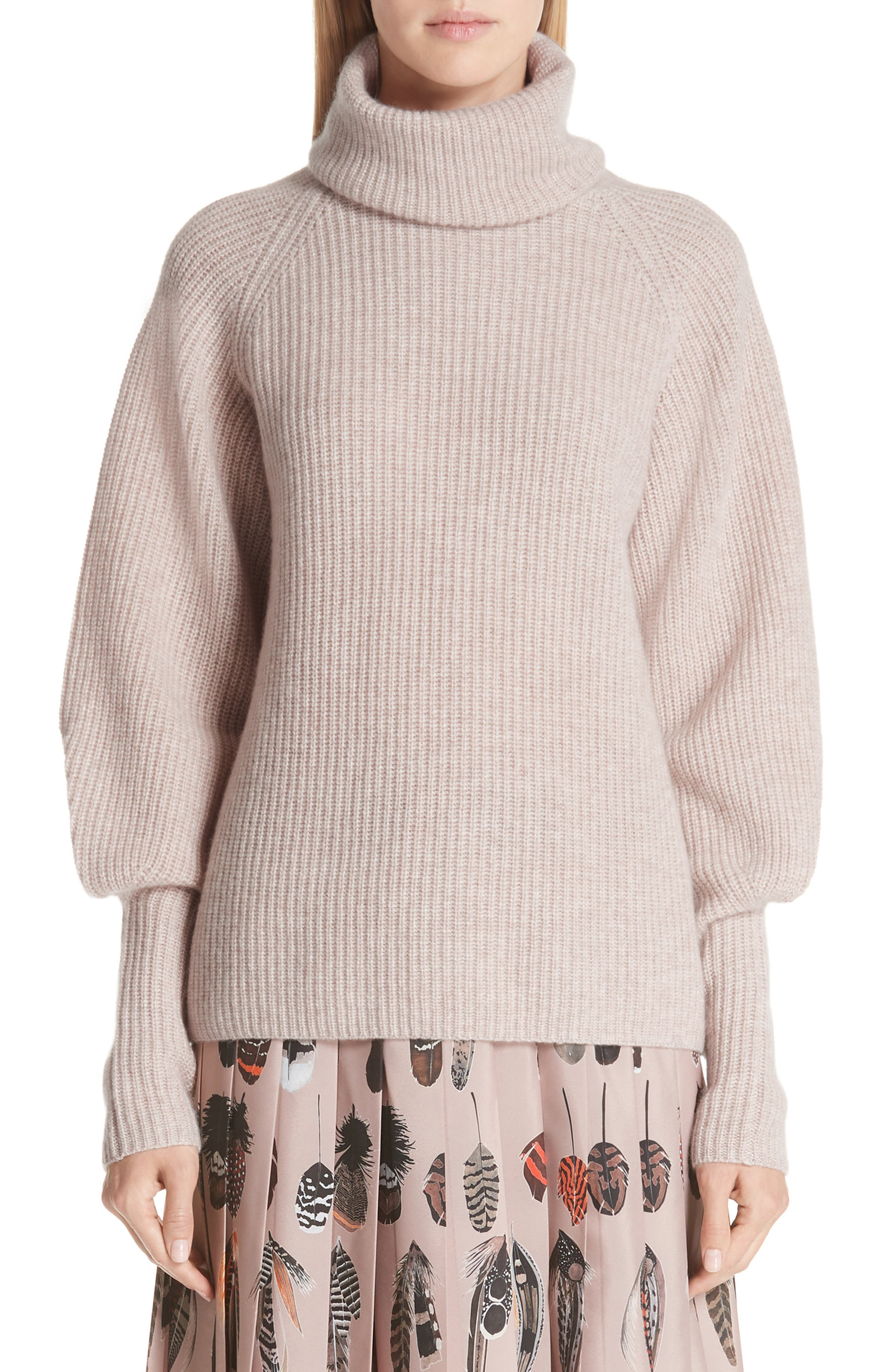 Cashmere Blouson Sleeve Turtleneck Sweater,                         Main,                         color, ALMOND