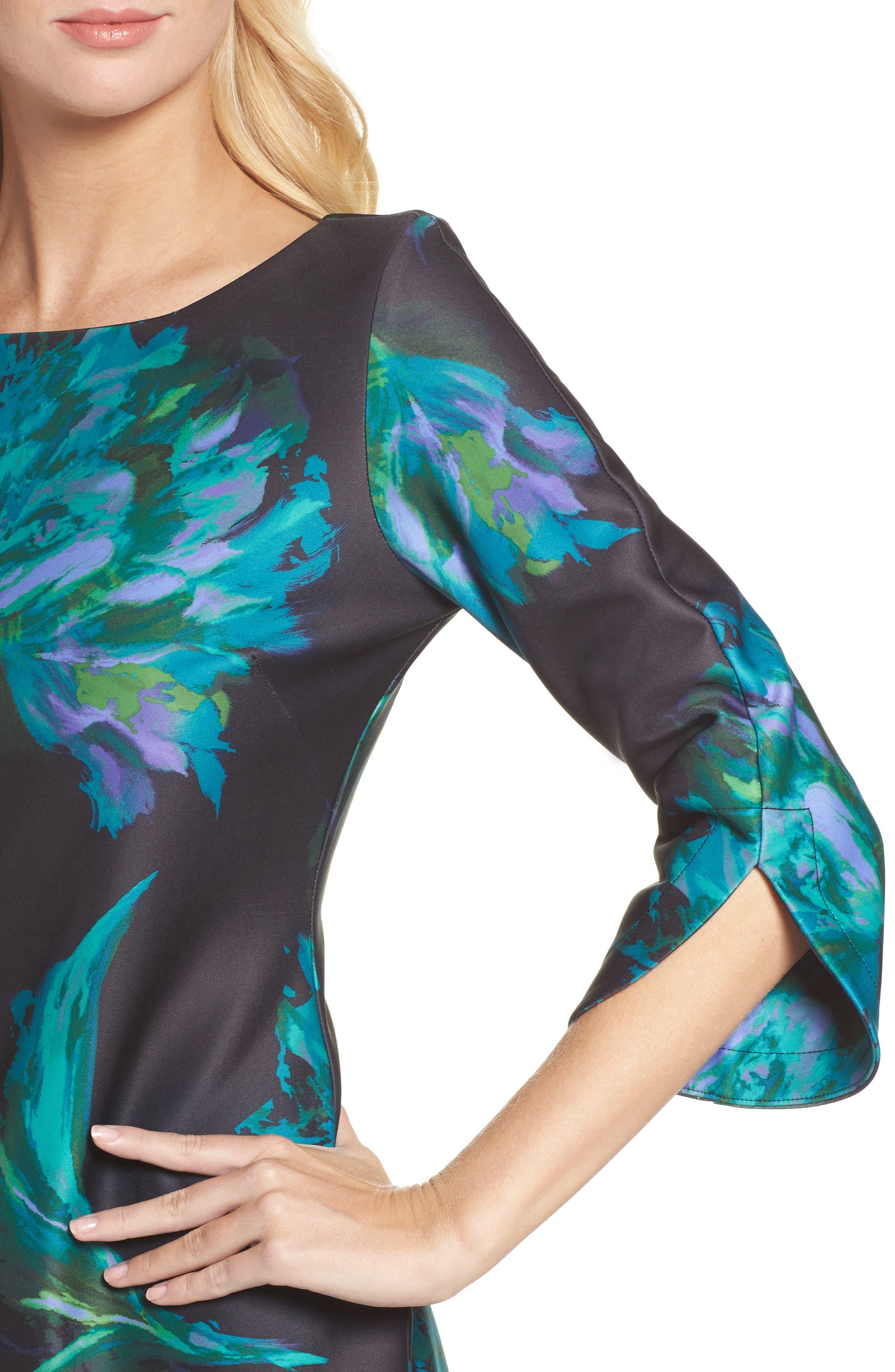 Floral Print Shift Dress,                             Alternate thumbnail 4, color,                             440