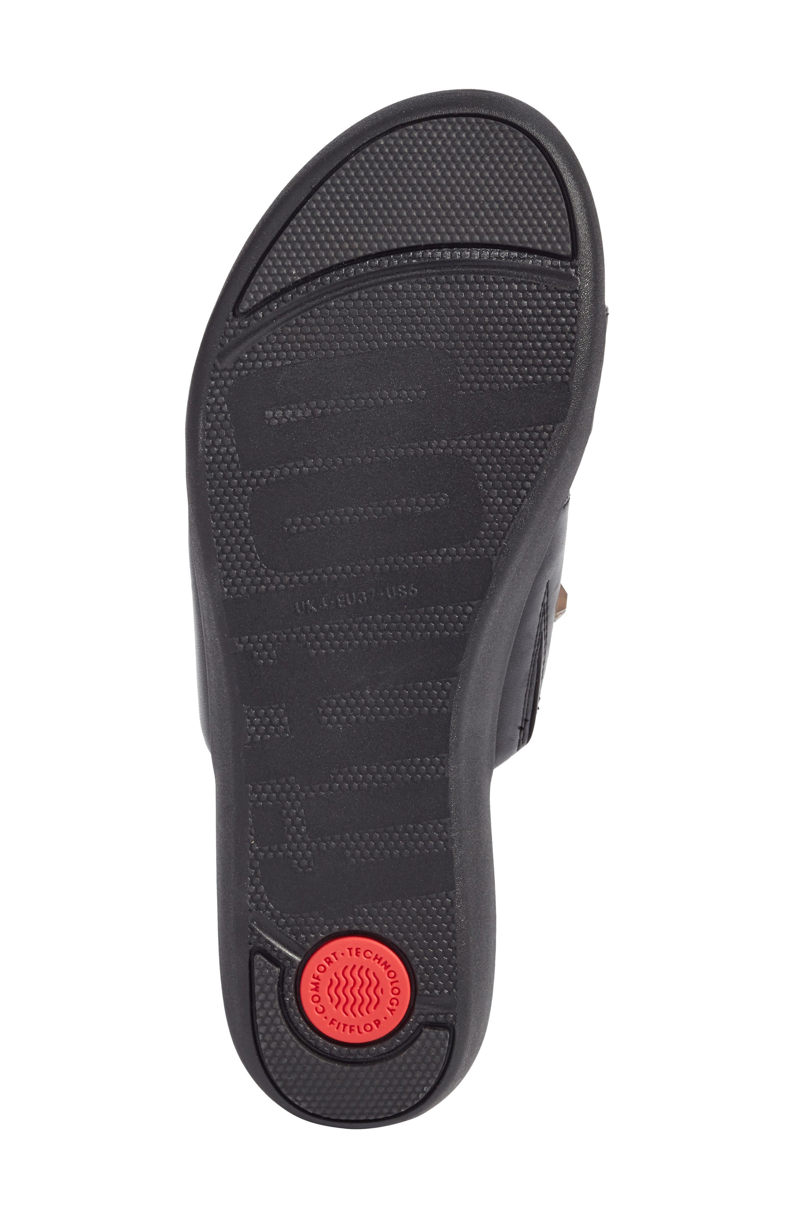 Delta Slide Sandal,                             Alternate thumbnail 6, color,                             BLACK LEATHER