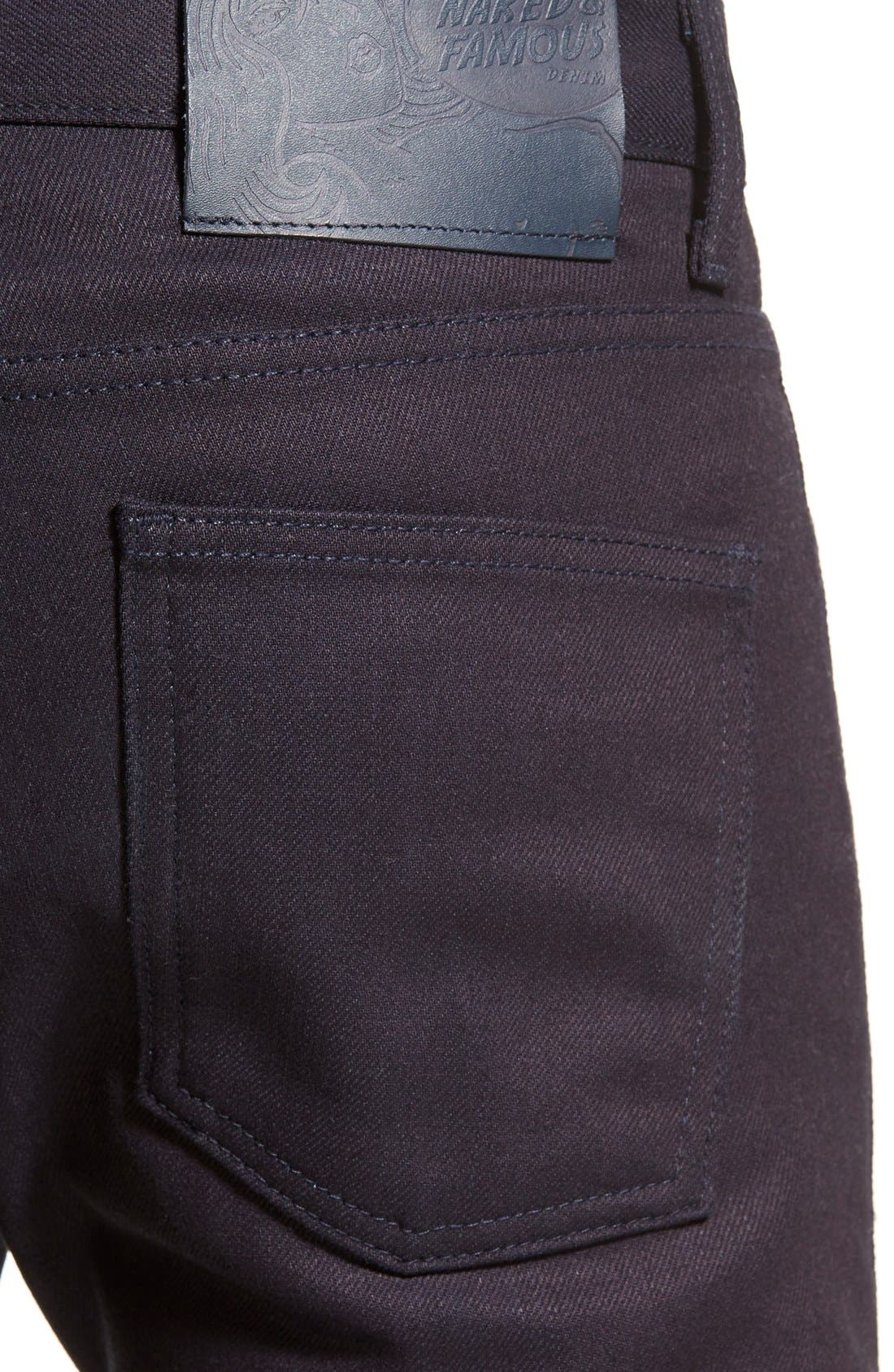 Super Skinny Guy Skinny Fit Jeans,                             Alternate thumbnail 5, color,                             INDIGO STRETCH SELVEDGE