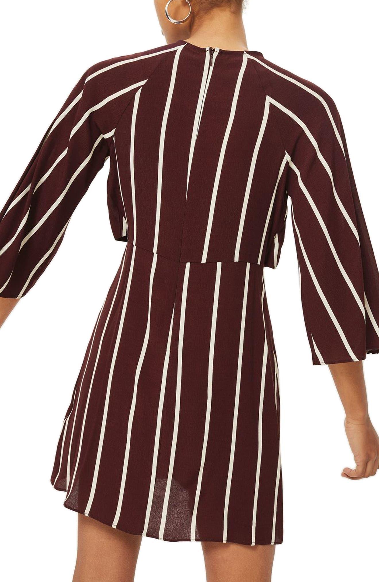 Stripe Knot Front Minidress,                             Alternate thumbnail 4, color,