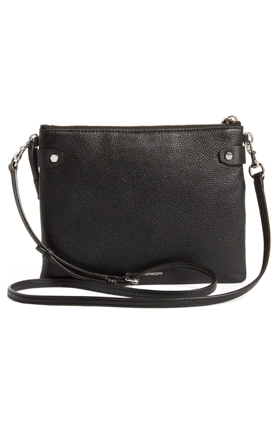 'Moto Jon' Leather Crossbody Bag,                             Alternate thumbnail 4, color,                             001