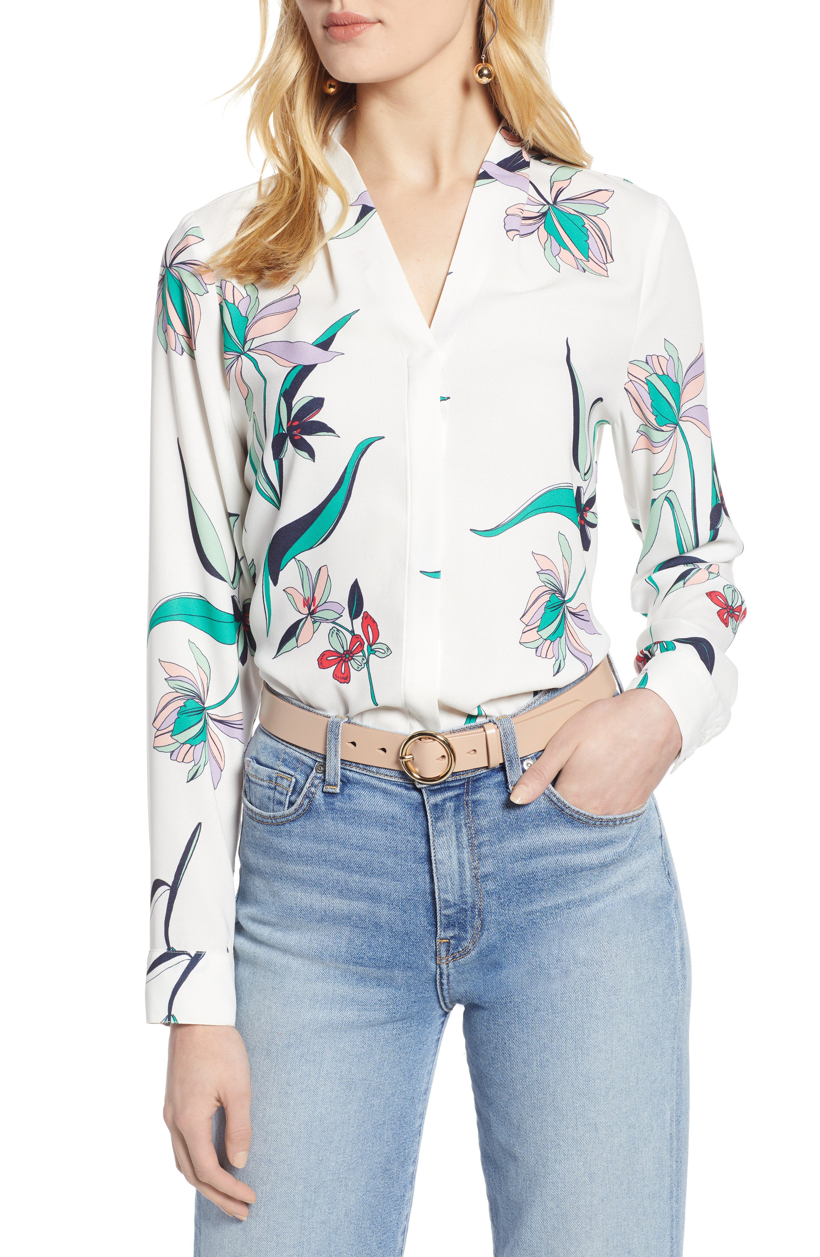 Halogen V-Neck Top,                             Main thumbnail 1, color,                             IVORY MULTI FLORAL