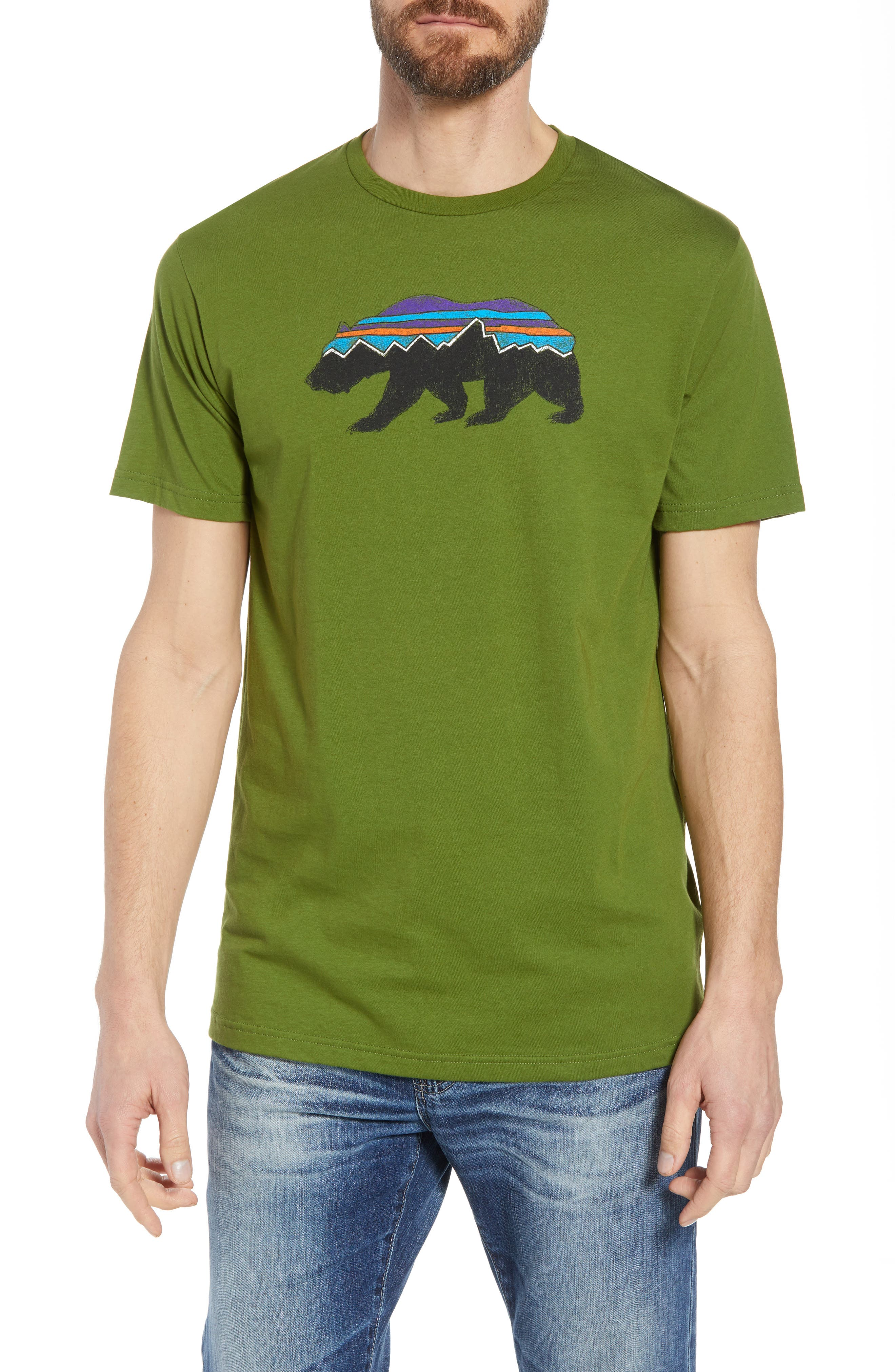 Fitz Roy Bear Crewneck T-Shirt,                         Main,                         color, SPROUTED GREEN
