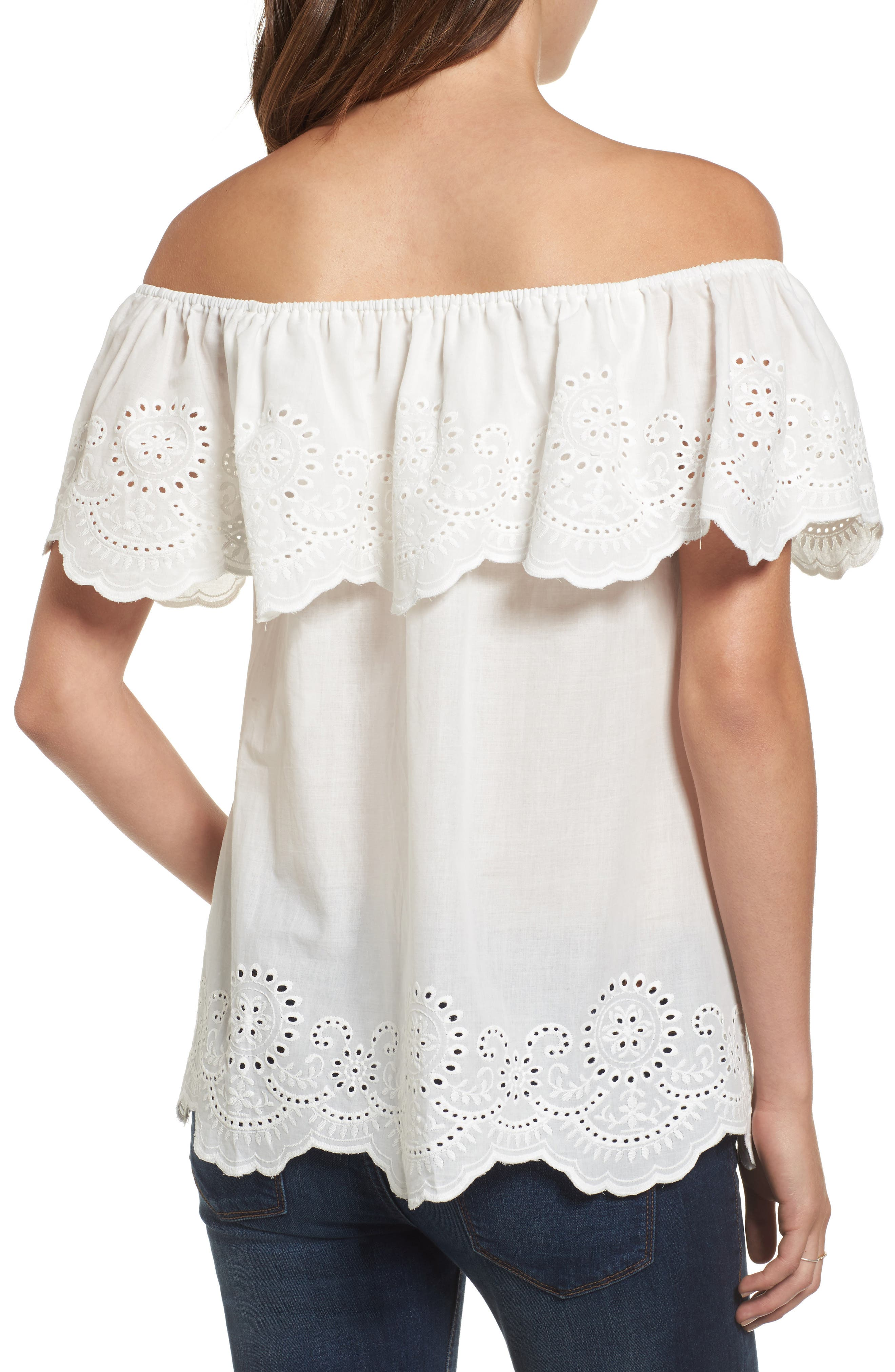 Eyelet Ruffle Off the Shoulder Top,                             Alternate thumbnail 2, color,                             100