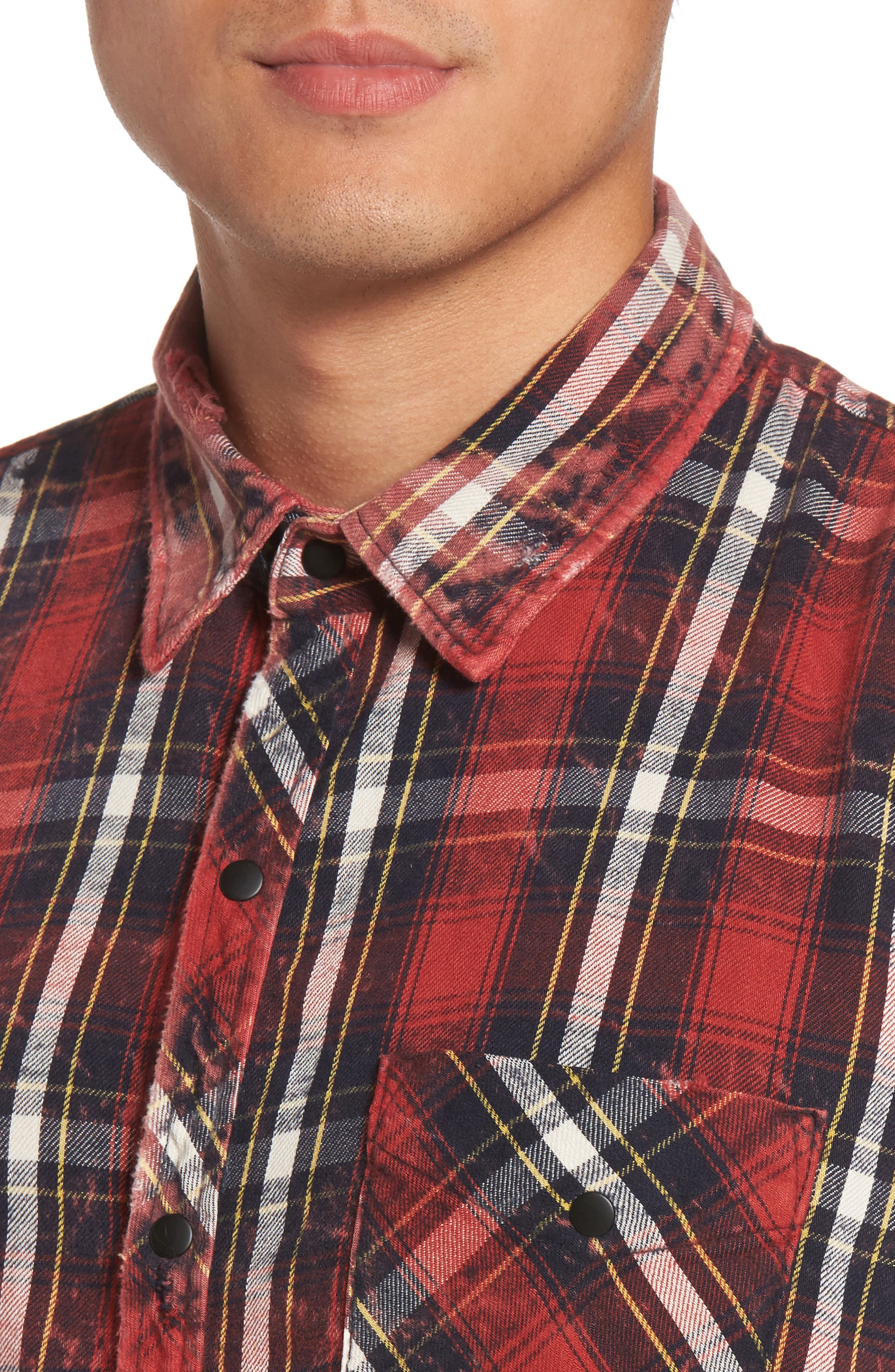 Slim Fit Plaid Sport Shirt,                             Alternate thumbnail 7, color,