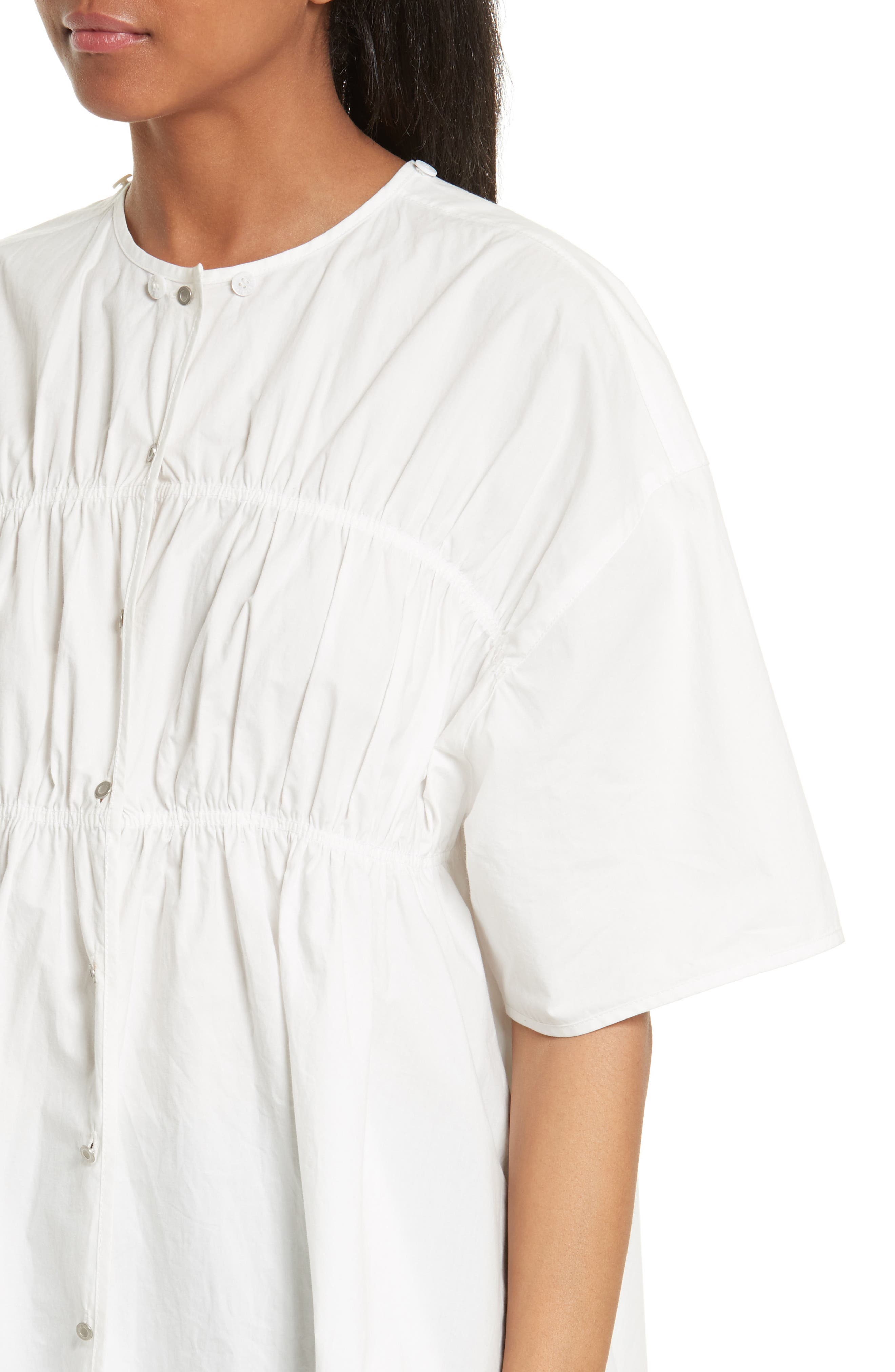 Gathered Poplin Shirt,                             Alternate thumbnail 4, color,                             100