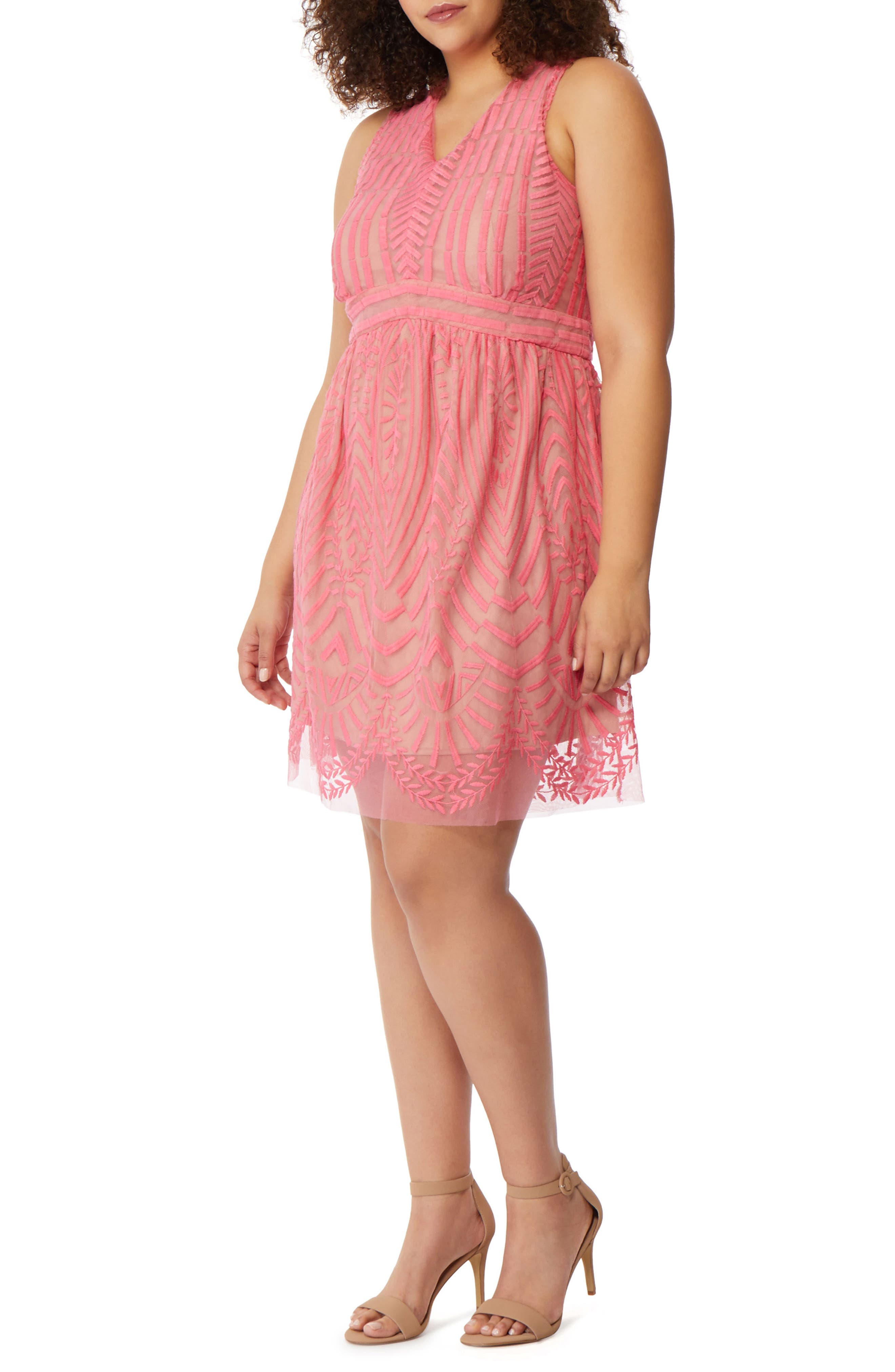 Embroidered Mesh A-Line Dress,                             Main thumbnail 1, color,