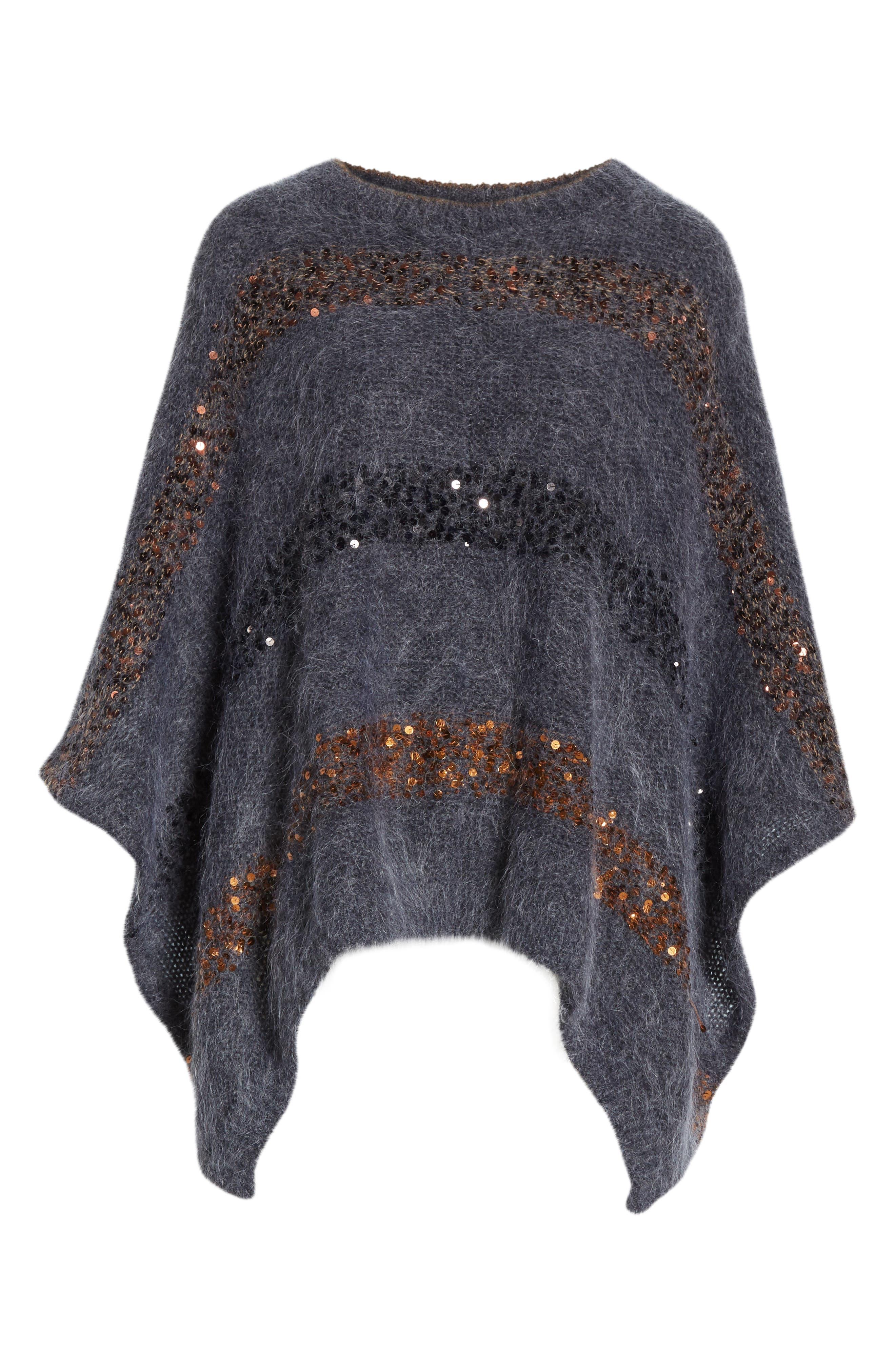 BRUNELLO CUCINELLI,                             Sequin Stripe Poncho Sweater,                             Alternate thumbnail 7, color,                             ANTHRACITE