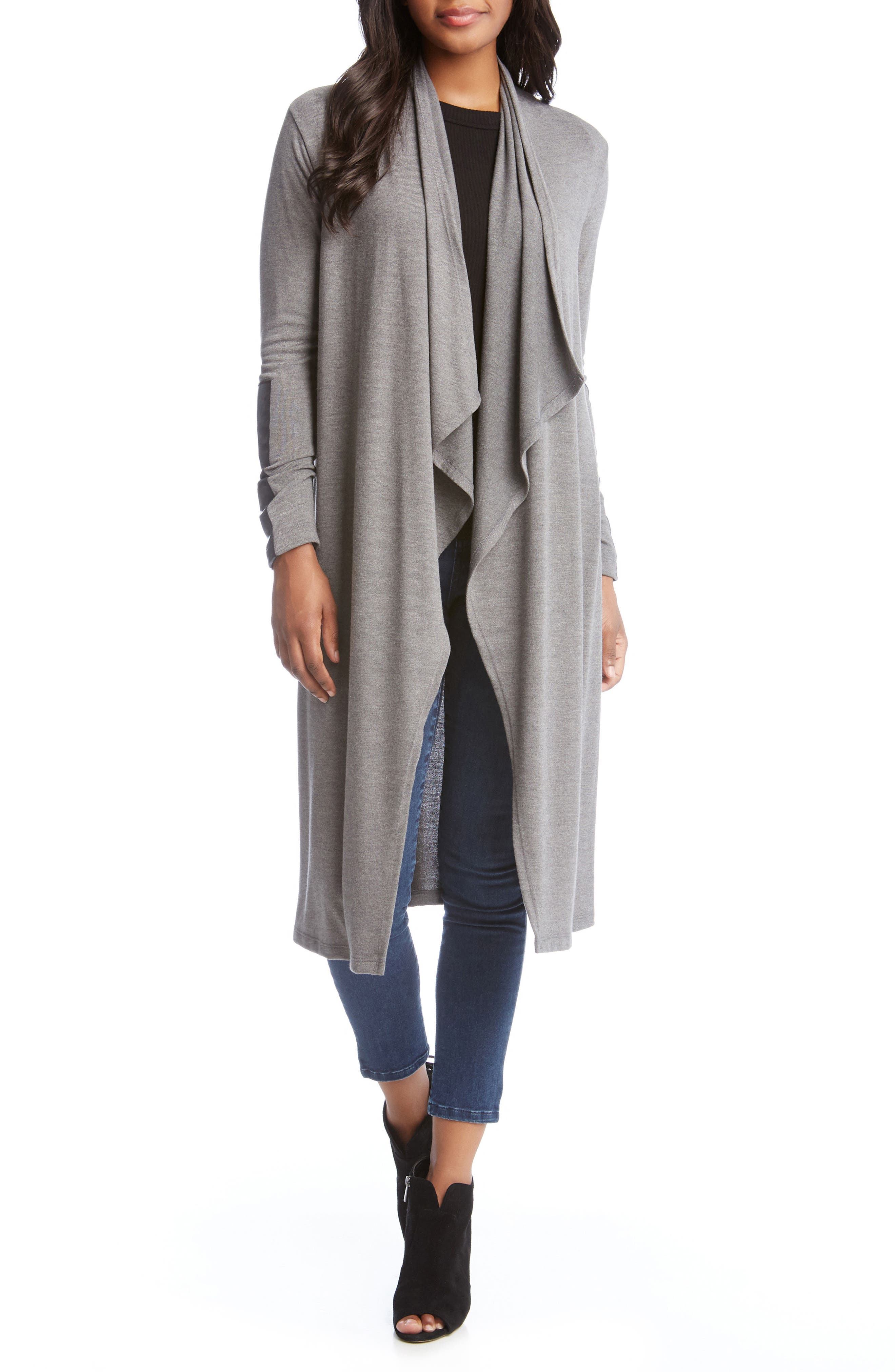Faux Leather Patch Duster Cardigan,                             Main thumbnail 1, color,                             029