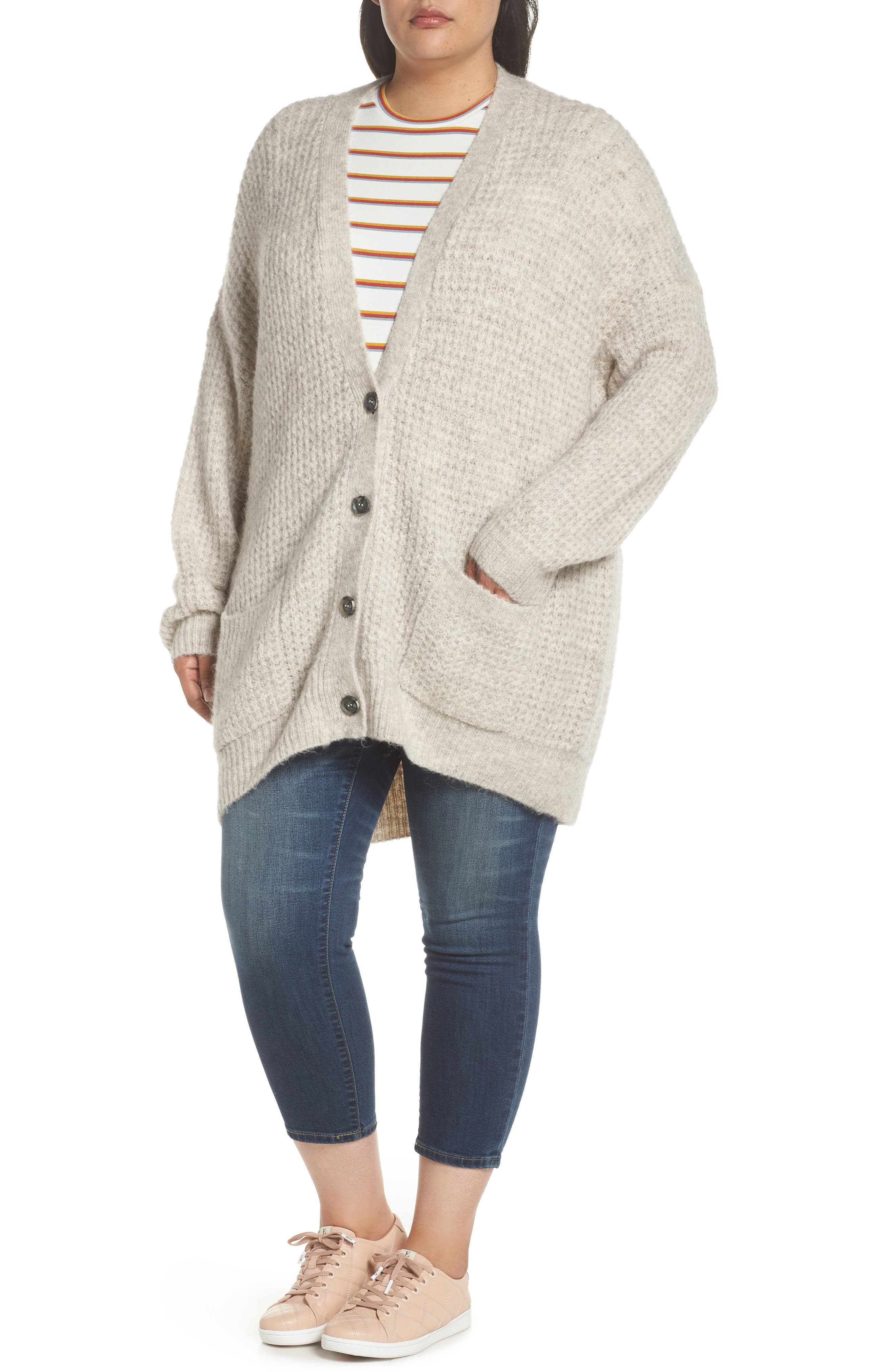 Oversized Waffle Stitch Cardigan,                             Alternate thumbnail 10, color,                             BEIGE BIRCH
