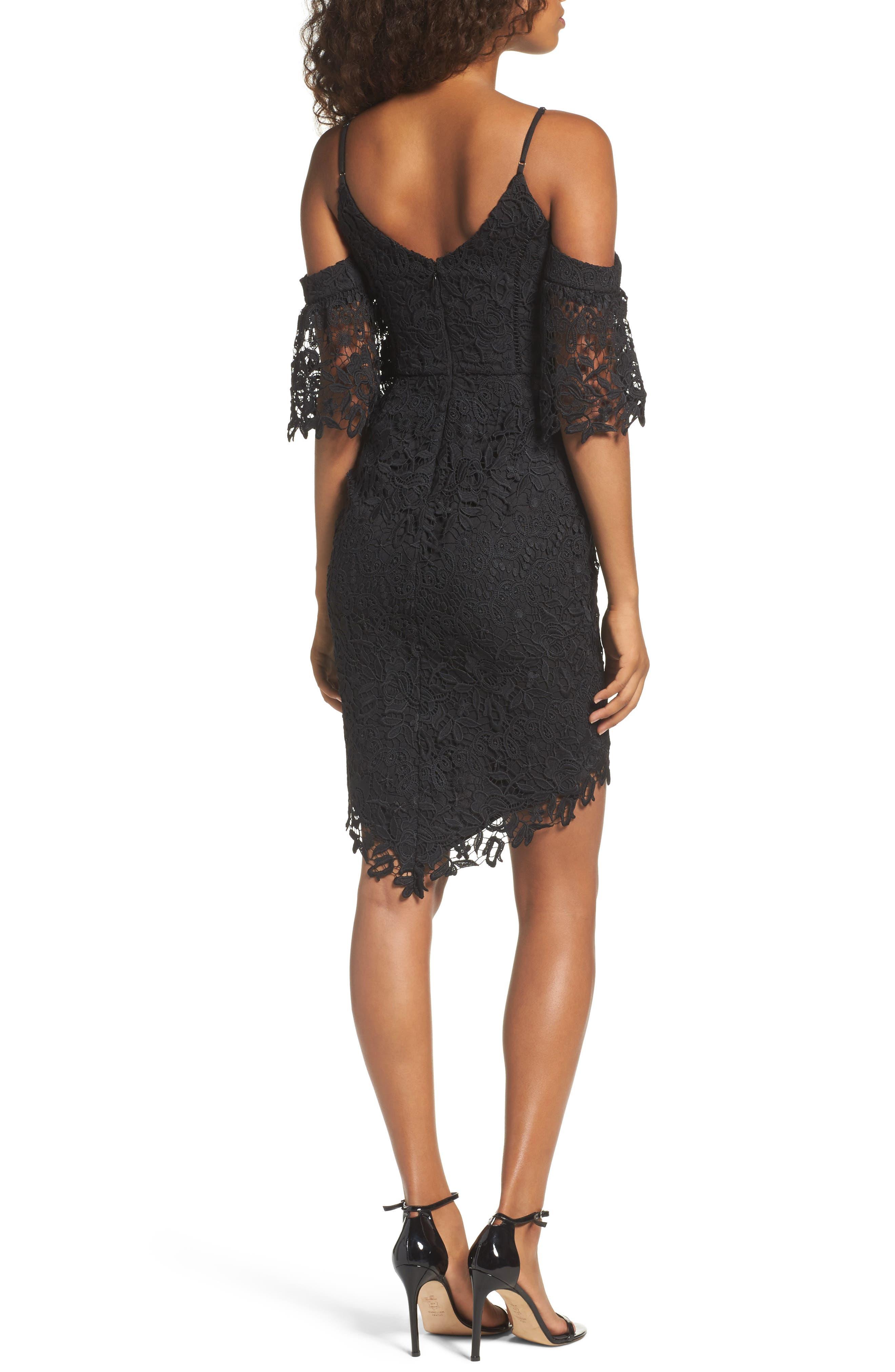 Krista Cold Shoulder Lace Sheath Dress,                             Alternate thumbnail 2, color,                             001