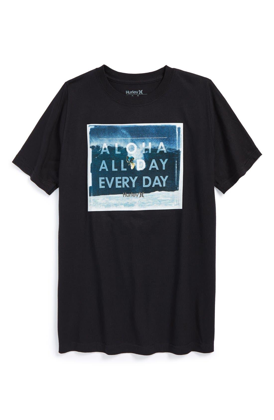HURLEY 'Aloha All Day Every Day' Screenprint T-Shirt, Main, color, 001