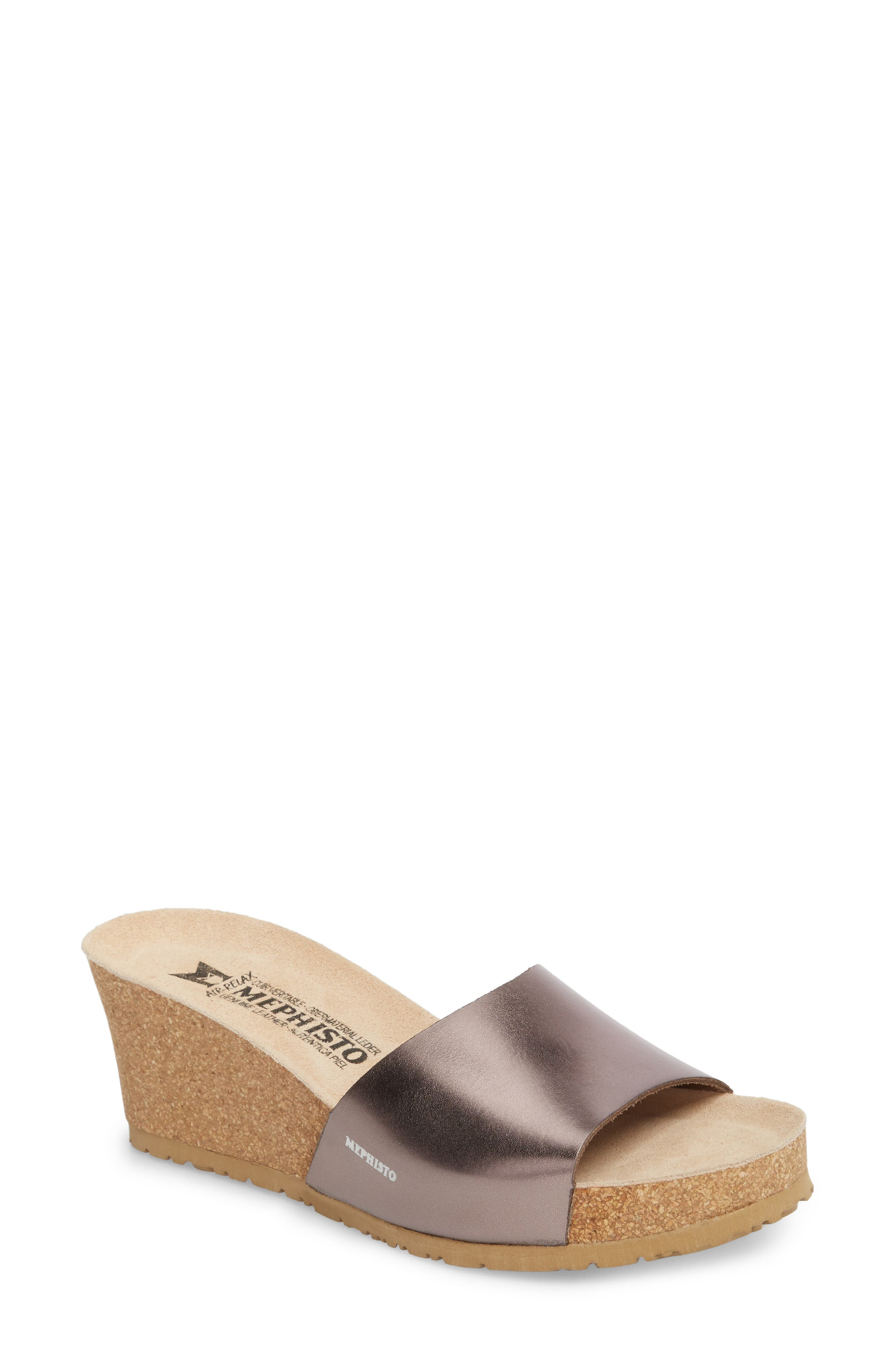 Lise Platform Wedge Sandal,                             Main thumbnail 1, color,                             BRONZE STAR LEATHER