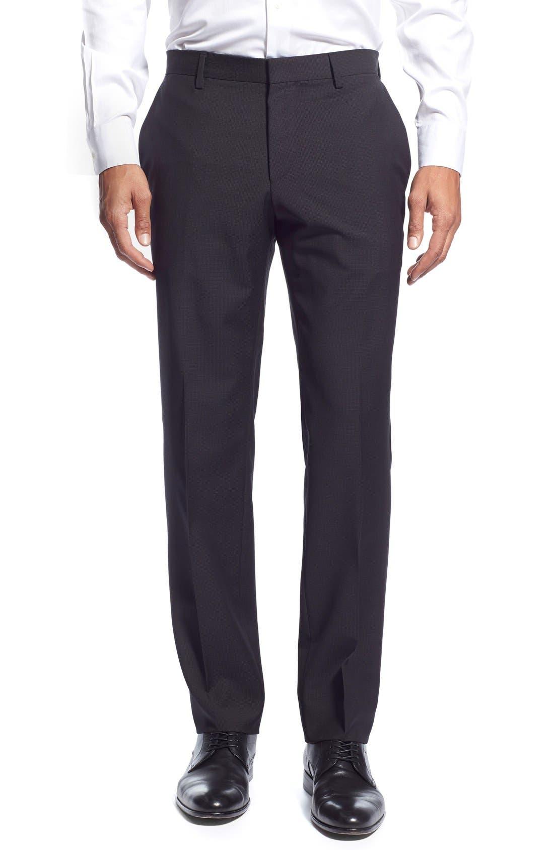 'Huge/Genius' Trim Fit Solid Wool Suit,                             Alternate thumbnail 15, color,                             BLACK