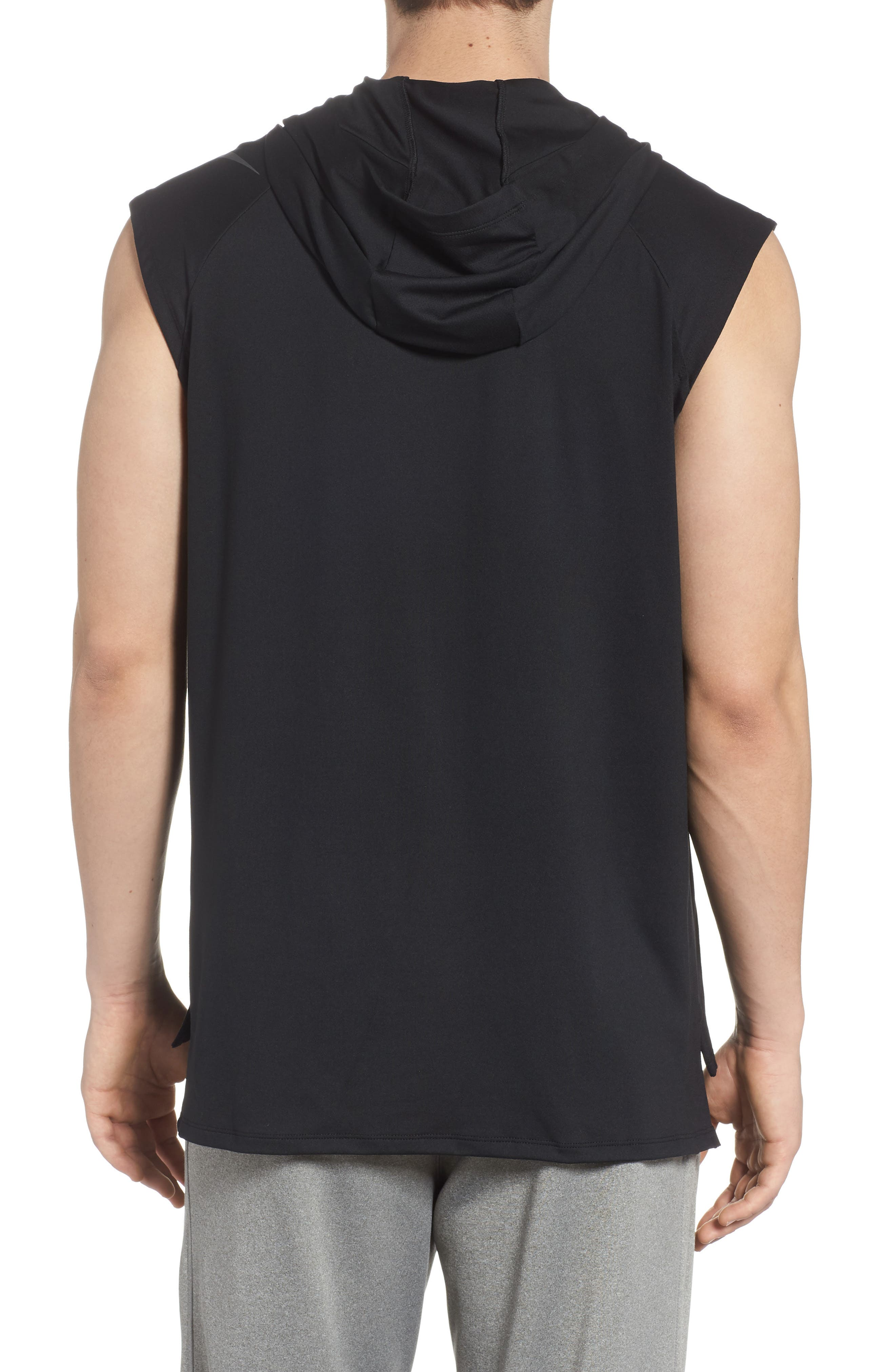 Dry Element Sleeveless Hoodie,                             Alternate thumbnail 2, color,                             BLACK