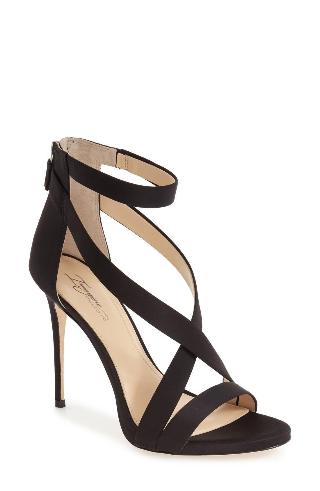 Imagine Vince Camuto 'Devin' Sandal,                             Main thumbnail 1, color,                             BLACK SATIN