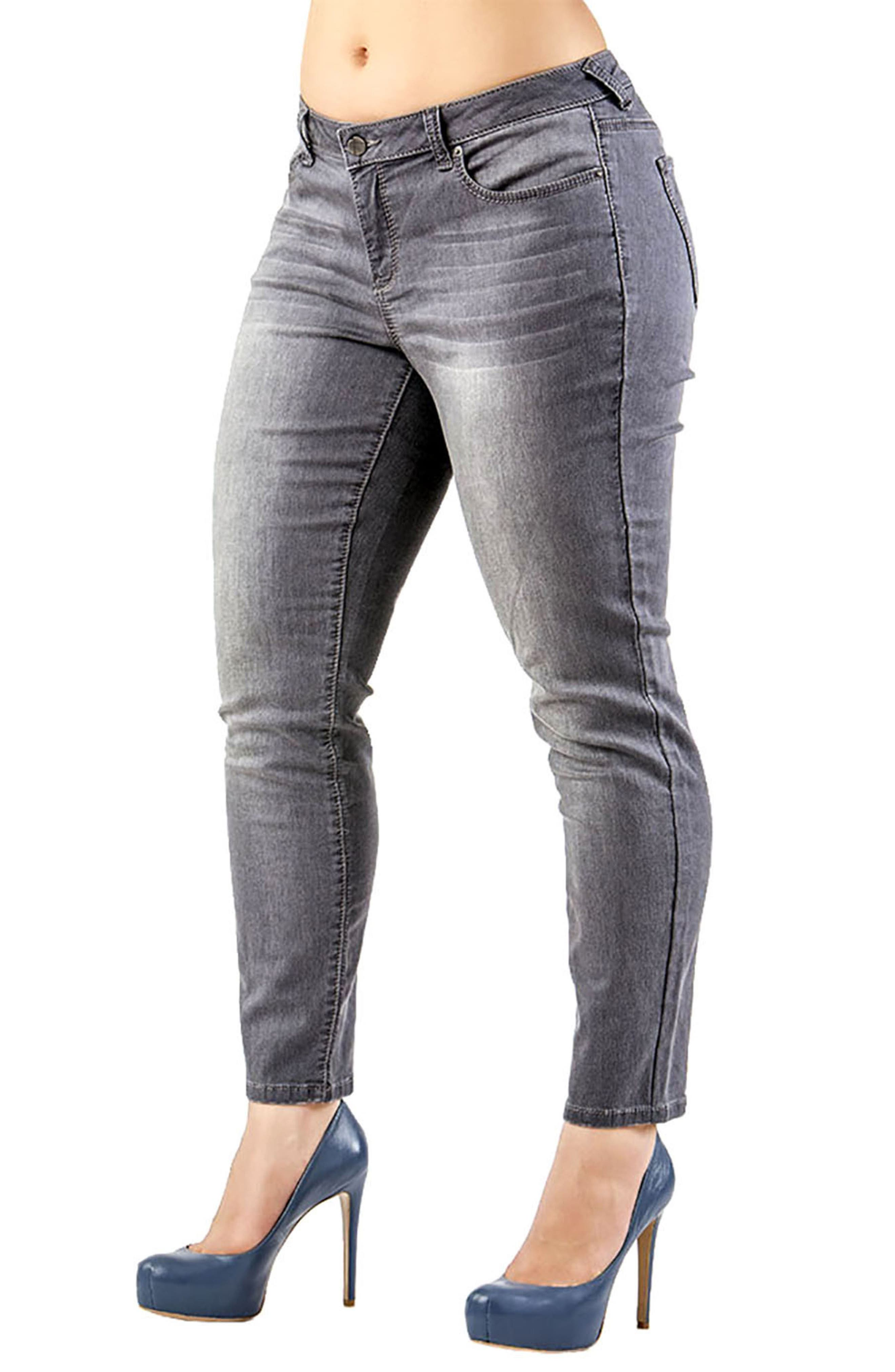 Minnie Stretch Denim Skinny Jeans,                             Main thumbnail 1, color,                             GREY