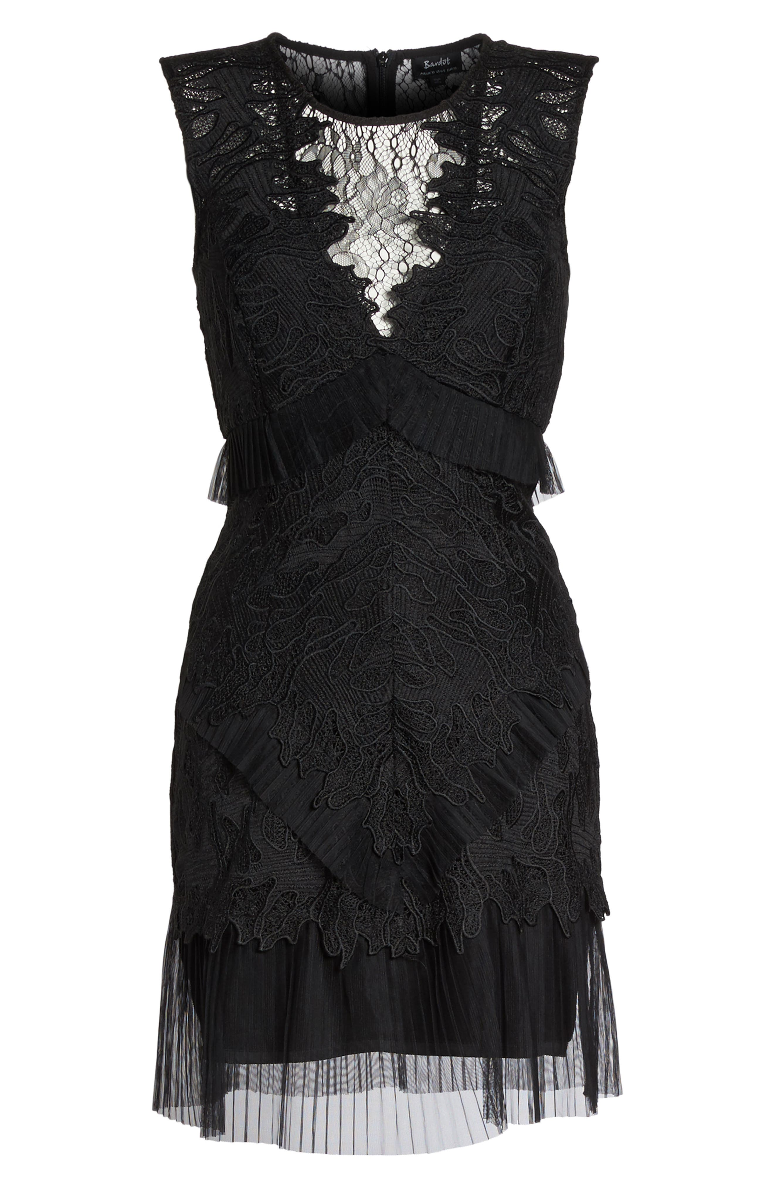 Ruffle Trim Lace Sheath Dress,                             Alternate thumbnail 6, color,                             001