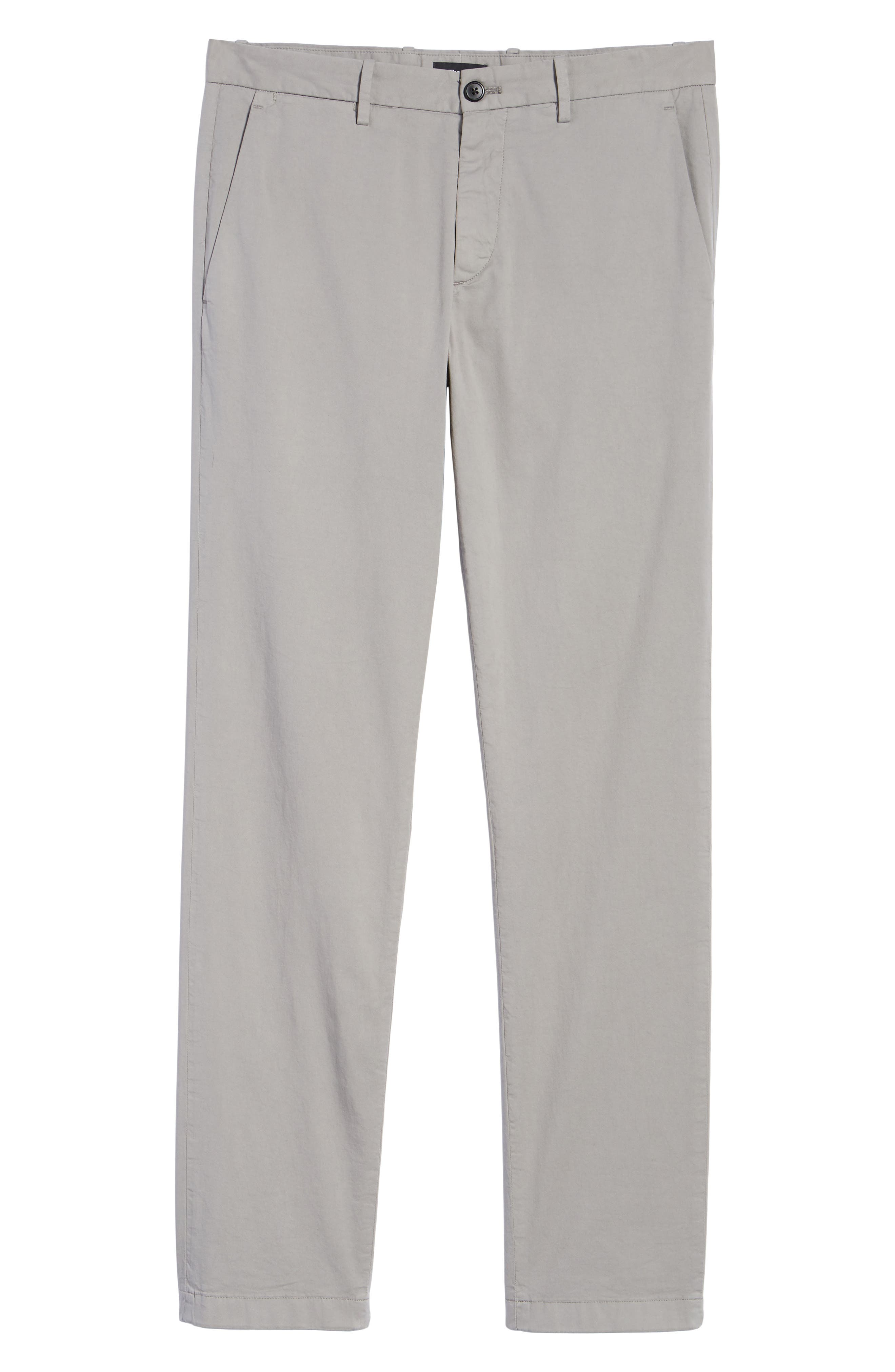 Zaine Patton Flat Front Stretch Solid Cotton Pants,                             Alternate thumbnail 6, color,                             DIM