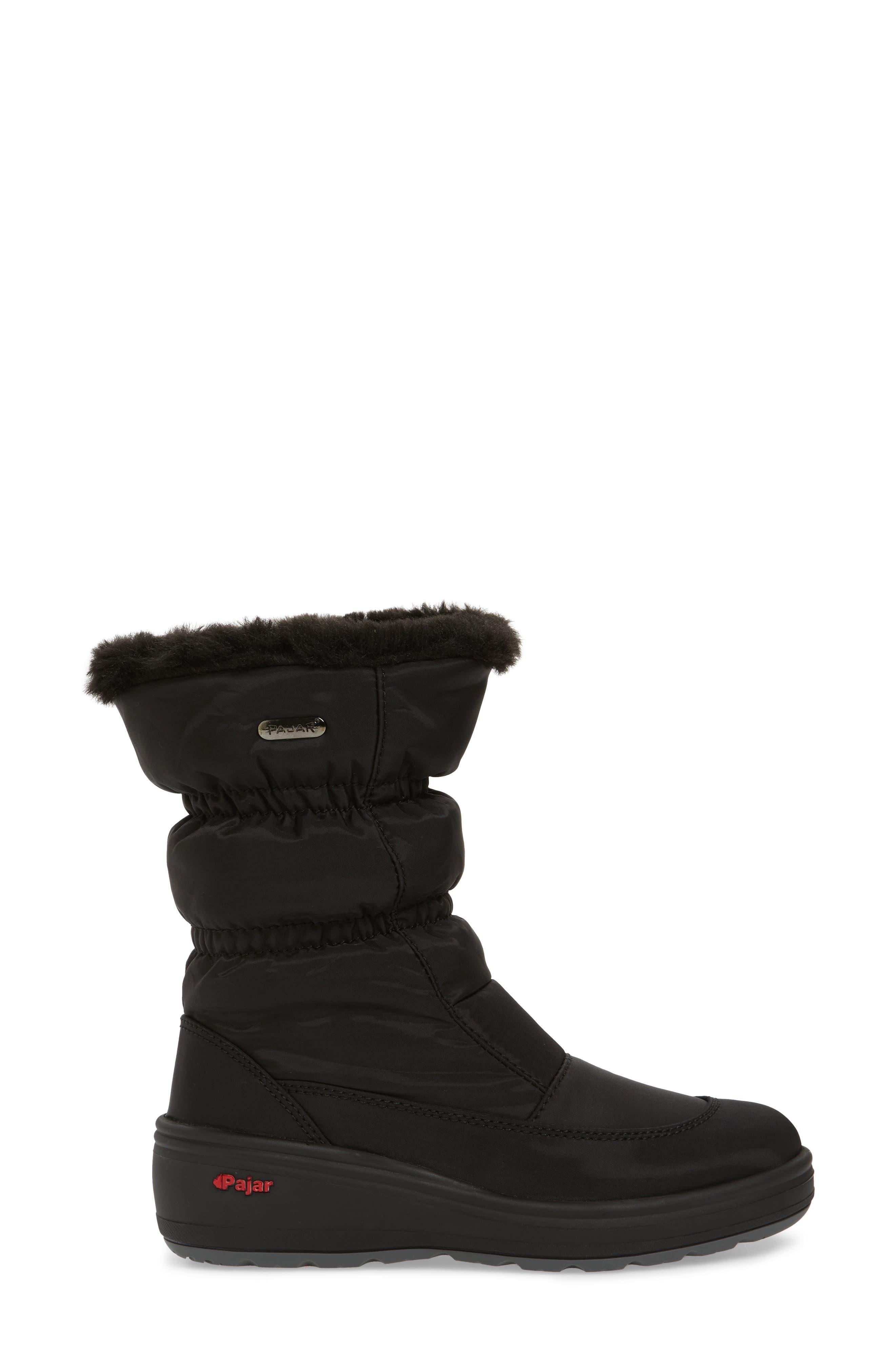 Snowcap Waterproof Insulated Winter Boot,                             Alternate thumbnail 3, color,                             BLACK FABRIC