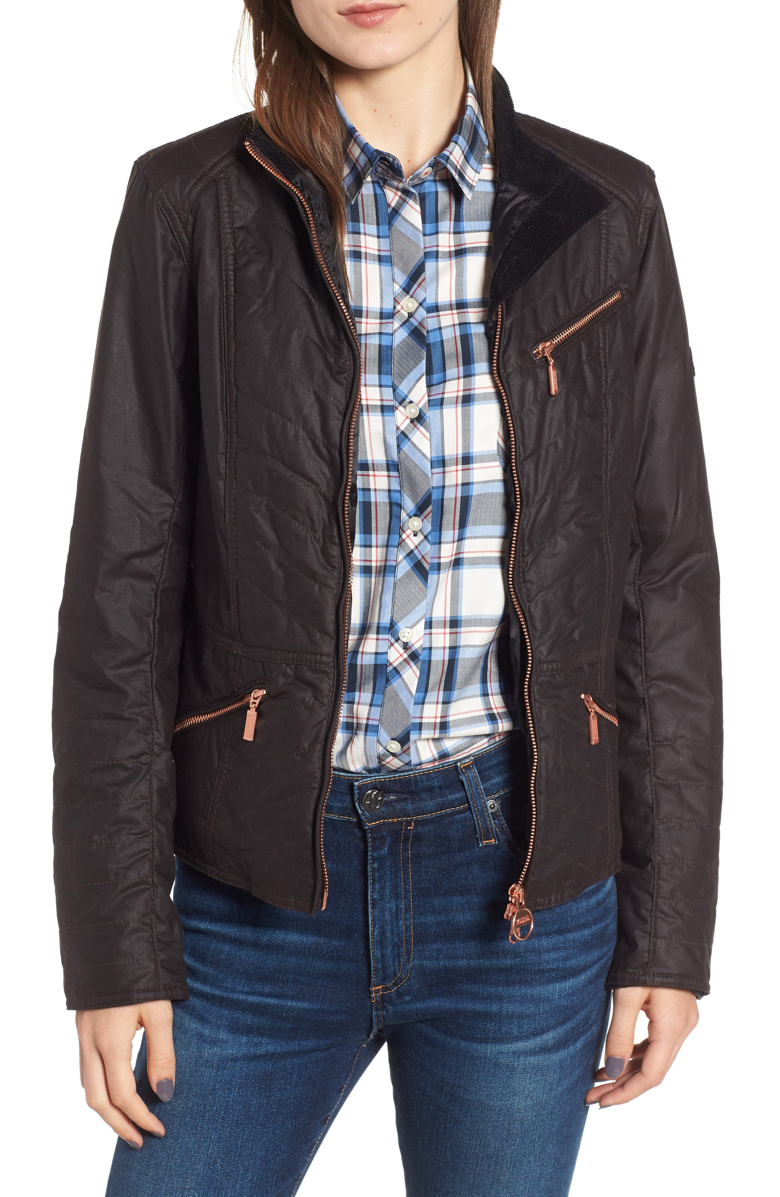 Barbour Backmarker Water Resistant Waxed Cotton Jacket, US / 10 UK - Red