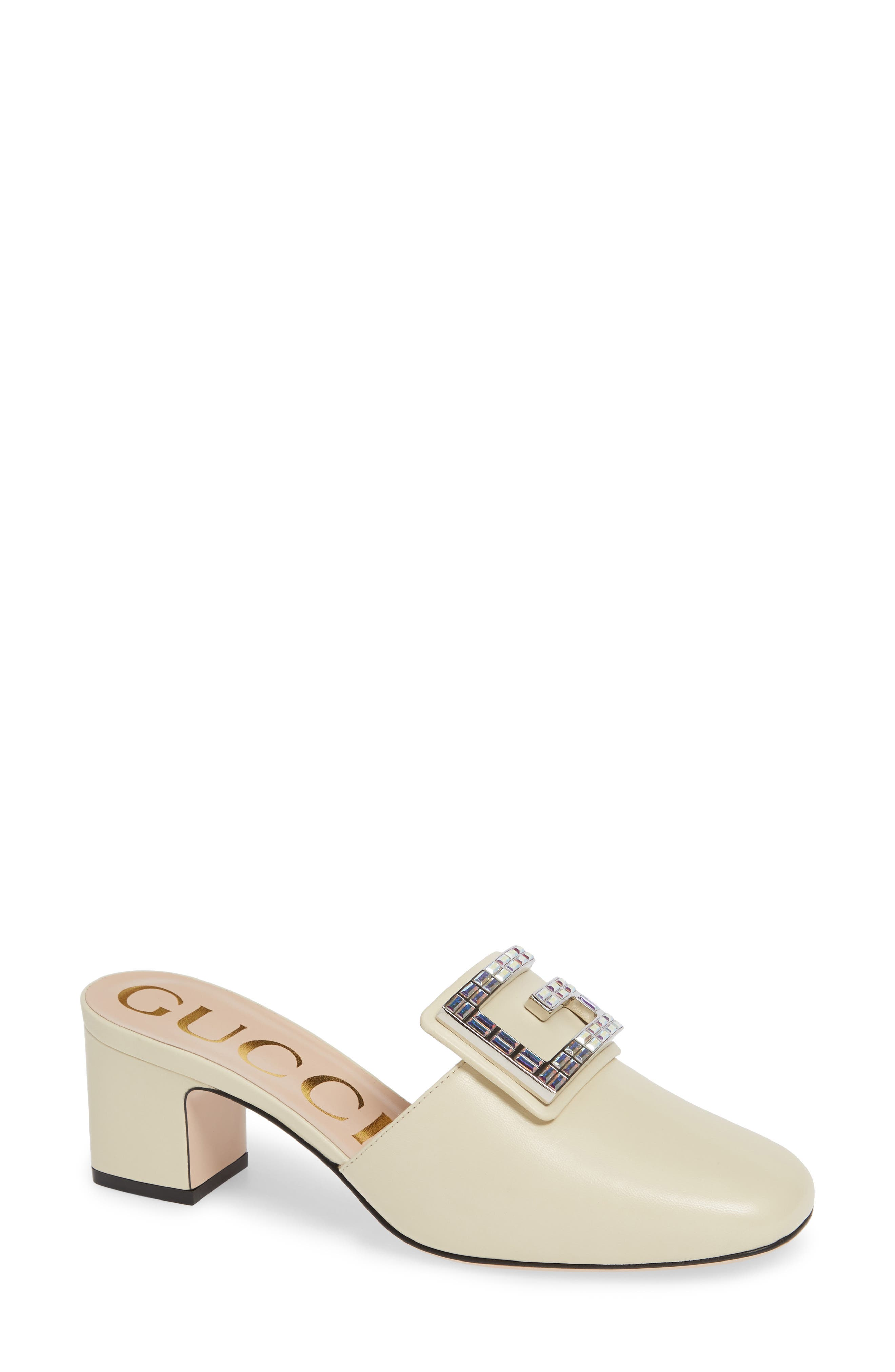 Madelyn 55Mm Leather Mules With Square G in Vintage White Leather