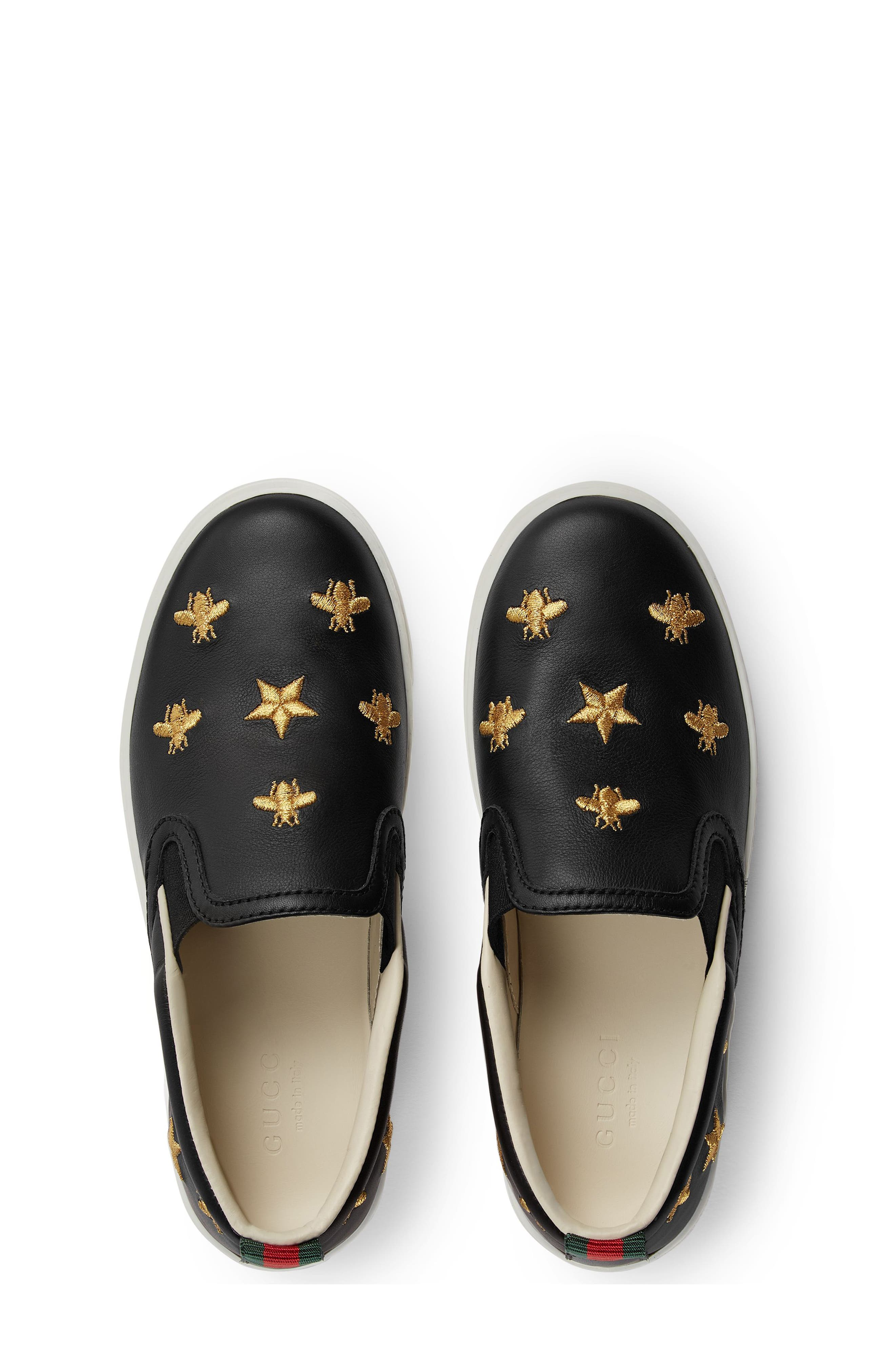 Dublin Bees and Stars Slip-On Sneaker,                             Alternate thumbnail 4, color,                             BLACK/GOLD STARS