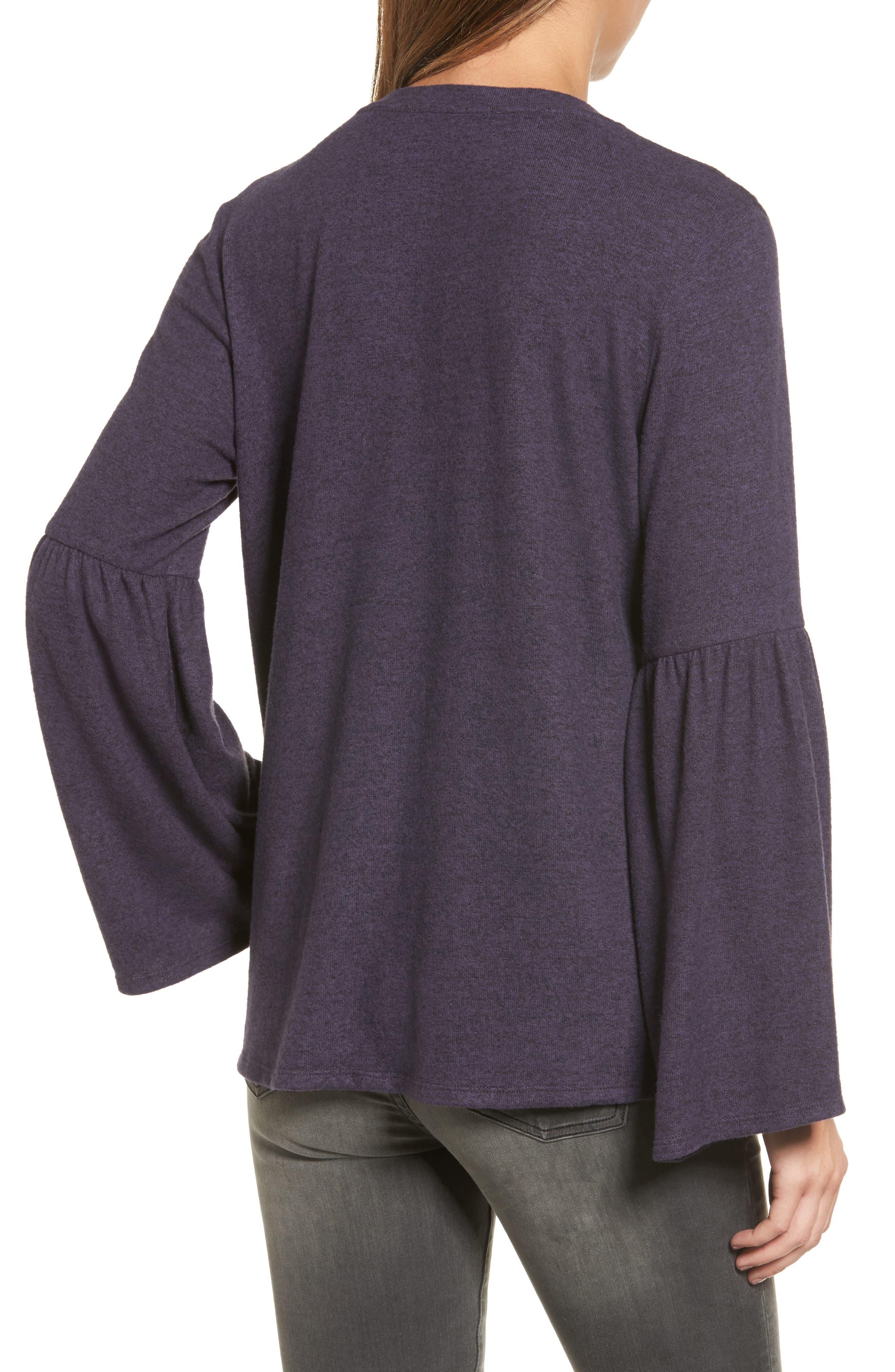 Bell Sleeve Cozy Fleece Pullover,                             Alternate thumbnail 22, color,