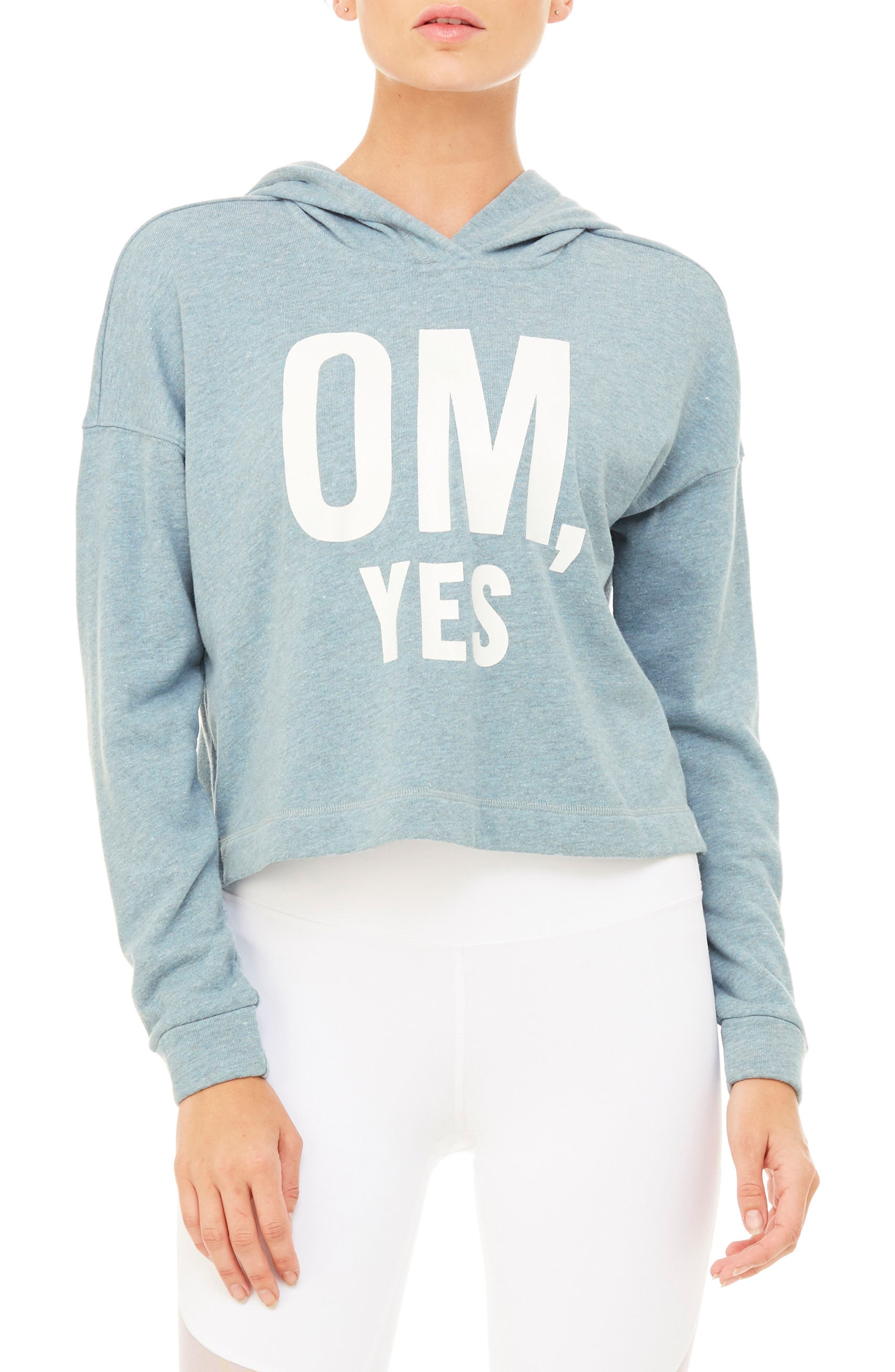 Screenprint French Terry Crop Hoodie,                             Main thumbnail 9, color,
