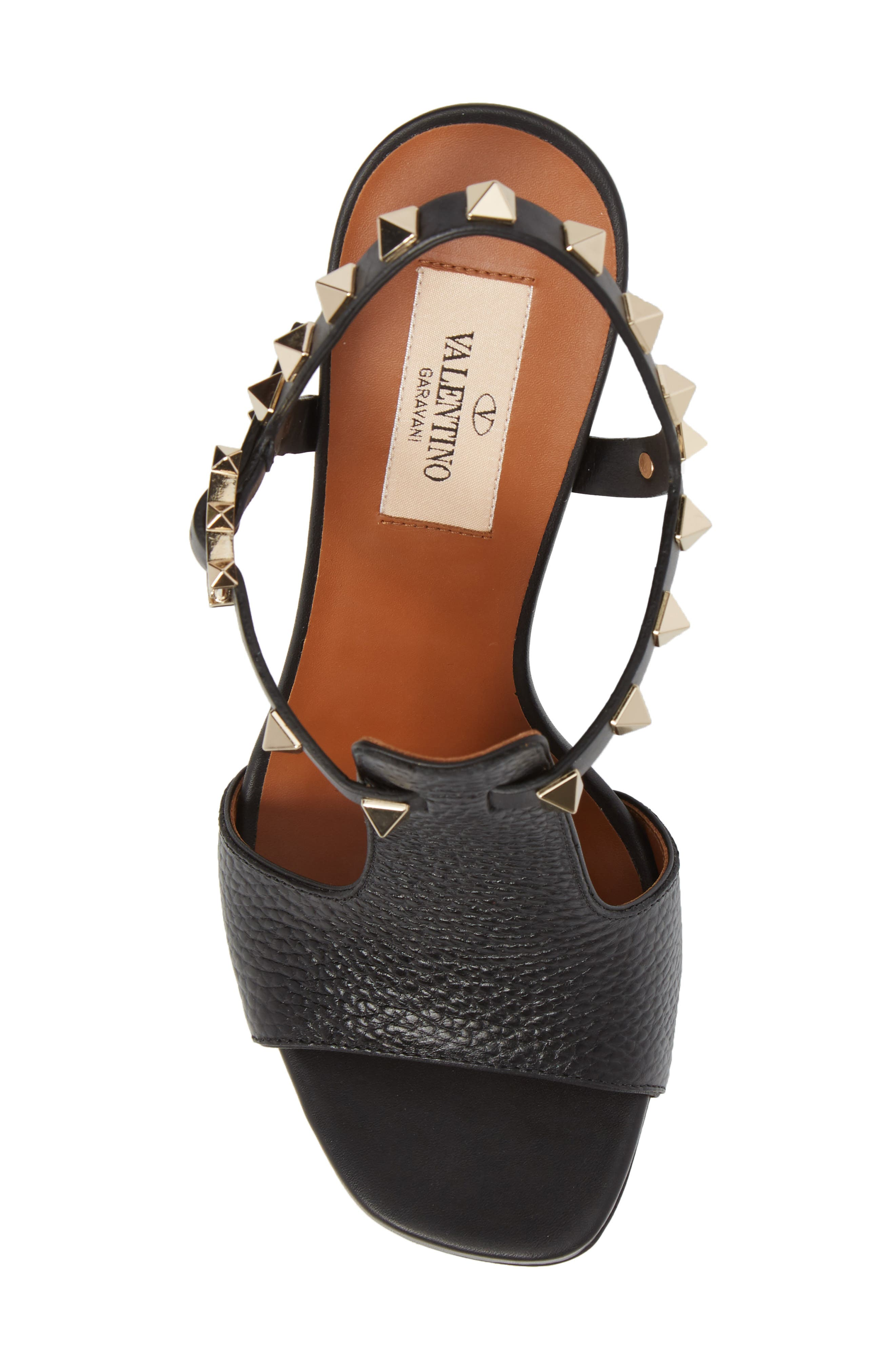 Rockstud T-Strap Sandal,                             Alternate thumbnail 5, color,                             BLACK LEATHER