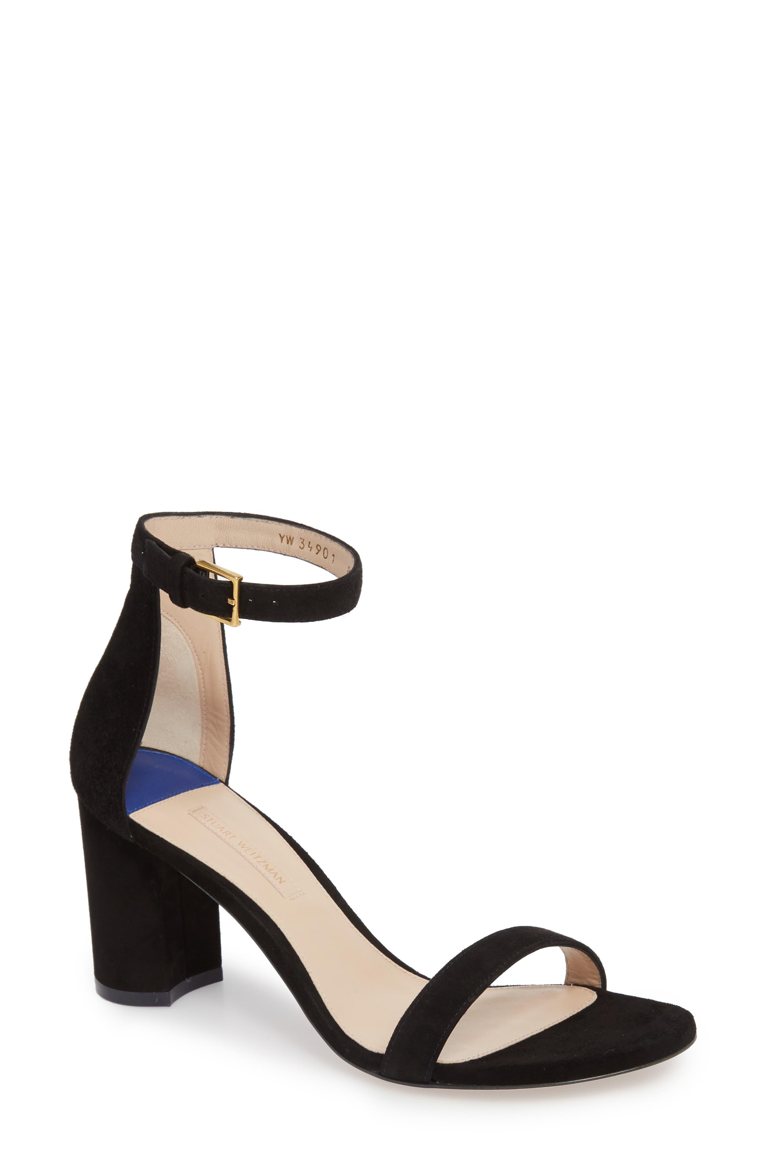 Stuart Weitzman 75Lessnudist Ankle Strap Sandal, Black