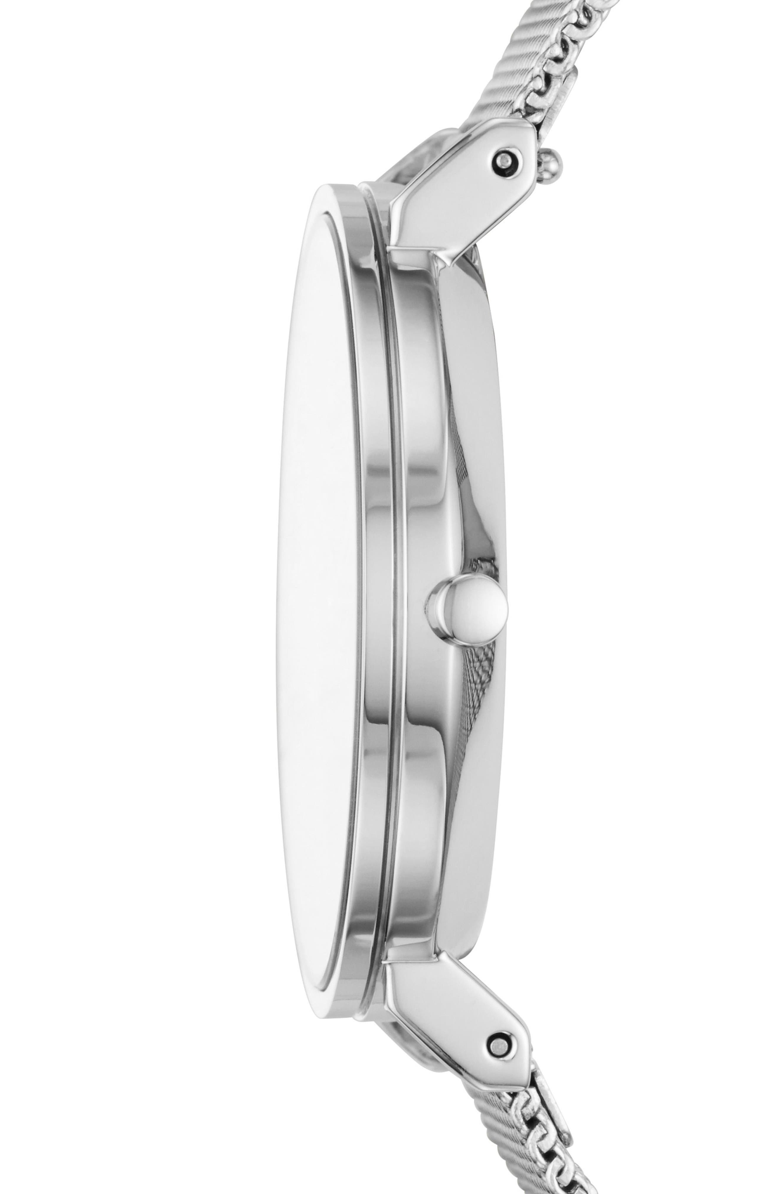 Slim Hald Mesh Strap Watch, 34mm,                             Alternate thumbnail 2, color,                             SILVER/ GREY/ SILVER