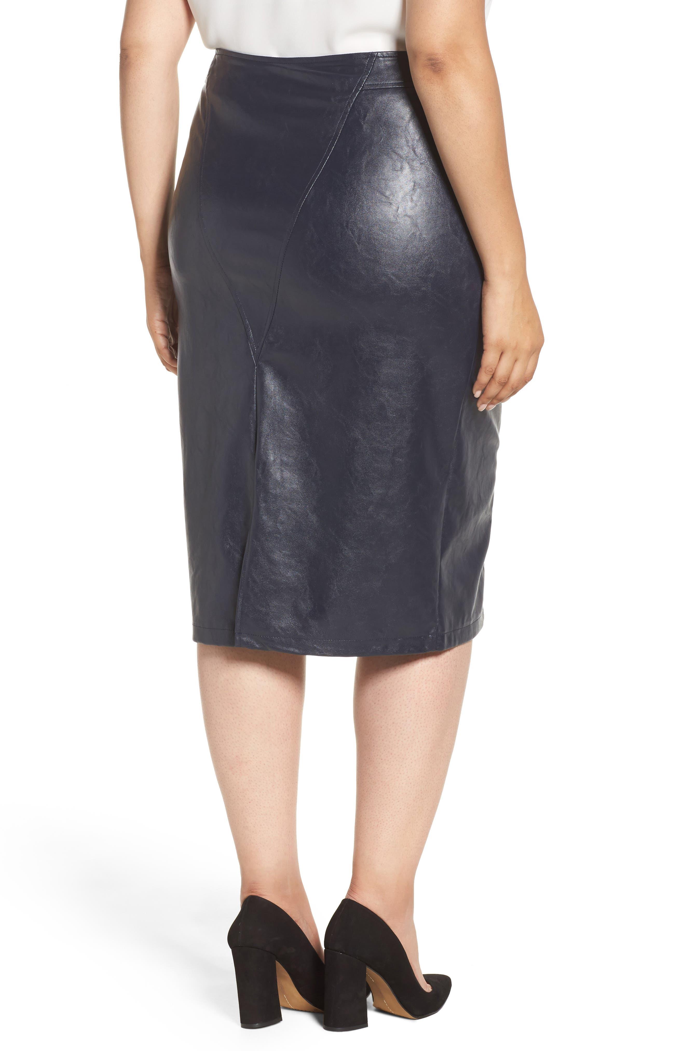 Faux Leather Pencil Skirt,                             Alternate thumbnail 2, color,                             401