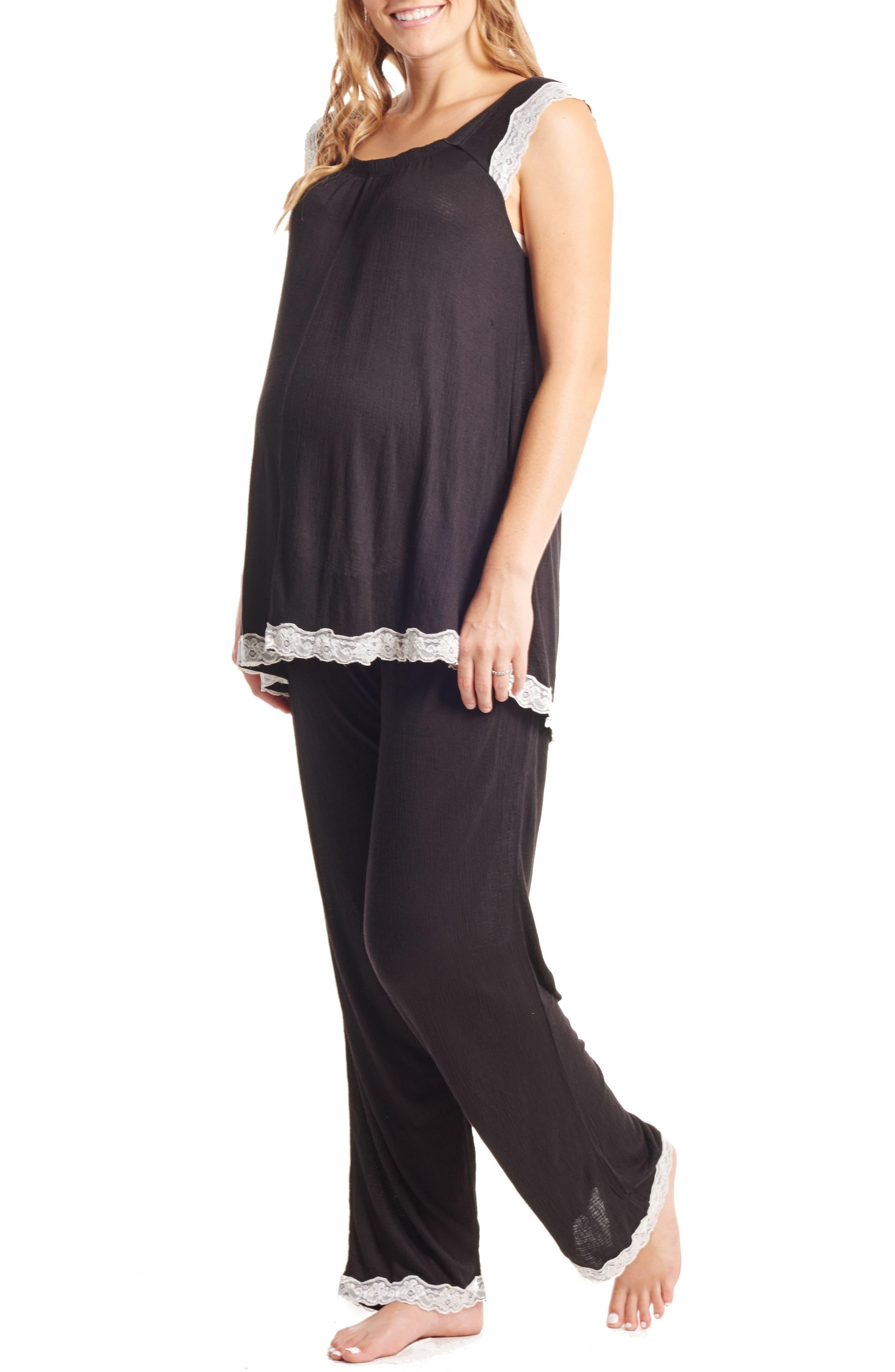 Carina Maternity/Nursing Pajamas & Robe Set,                             Alternate thumbnail 2, color,                             001