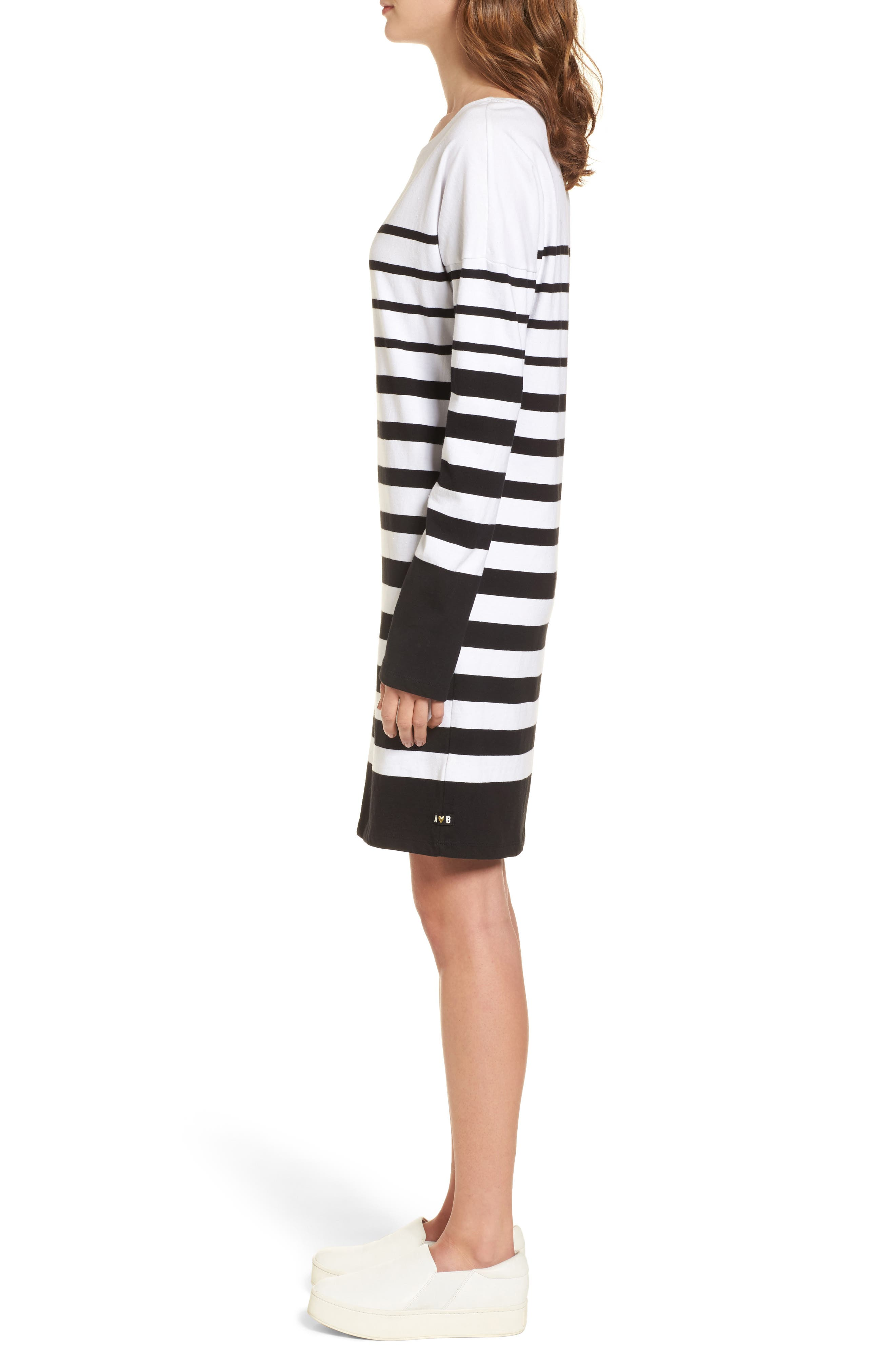 Breton Stripe Cotton Shift Dress,                             Alternate thumbnail 3, color,                             001