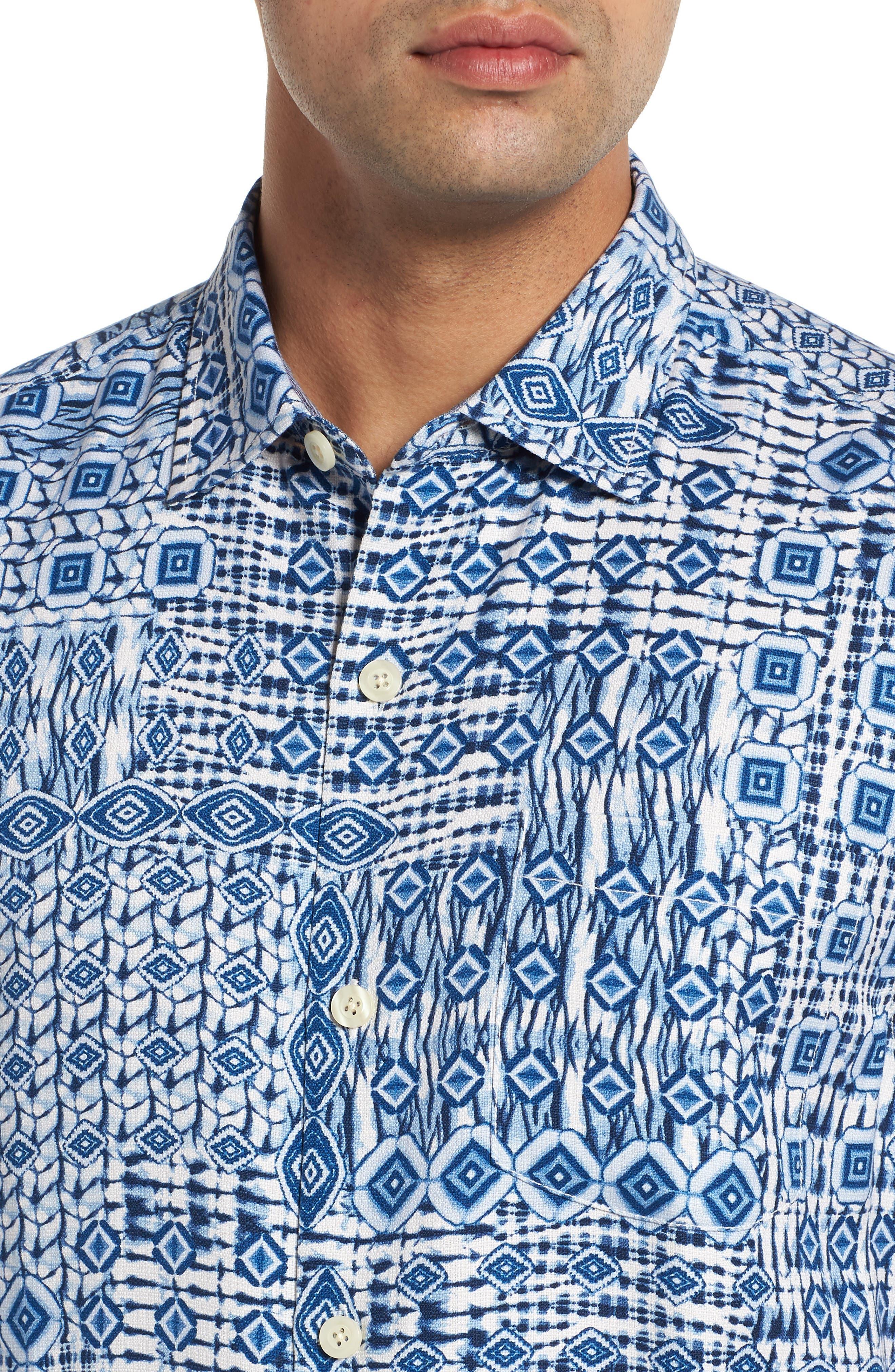 Tile Traveler Regular Fit Silk Camp Shirt,                             Alternate thumbnail 2, color,                             BLUE JEAN