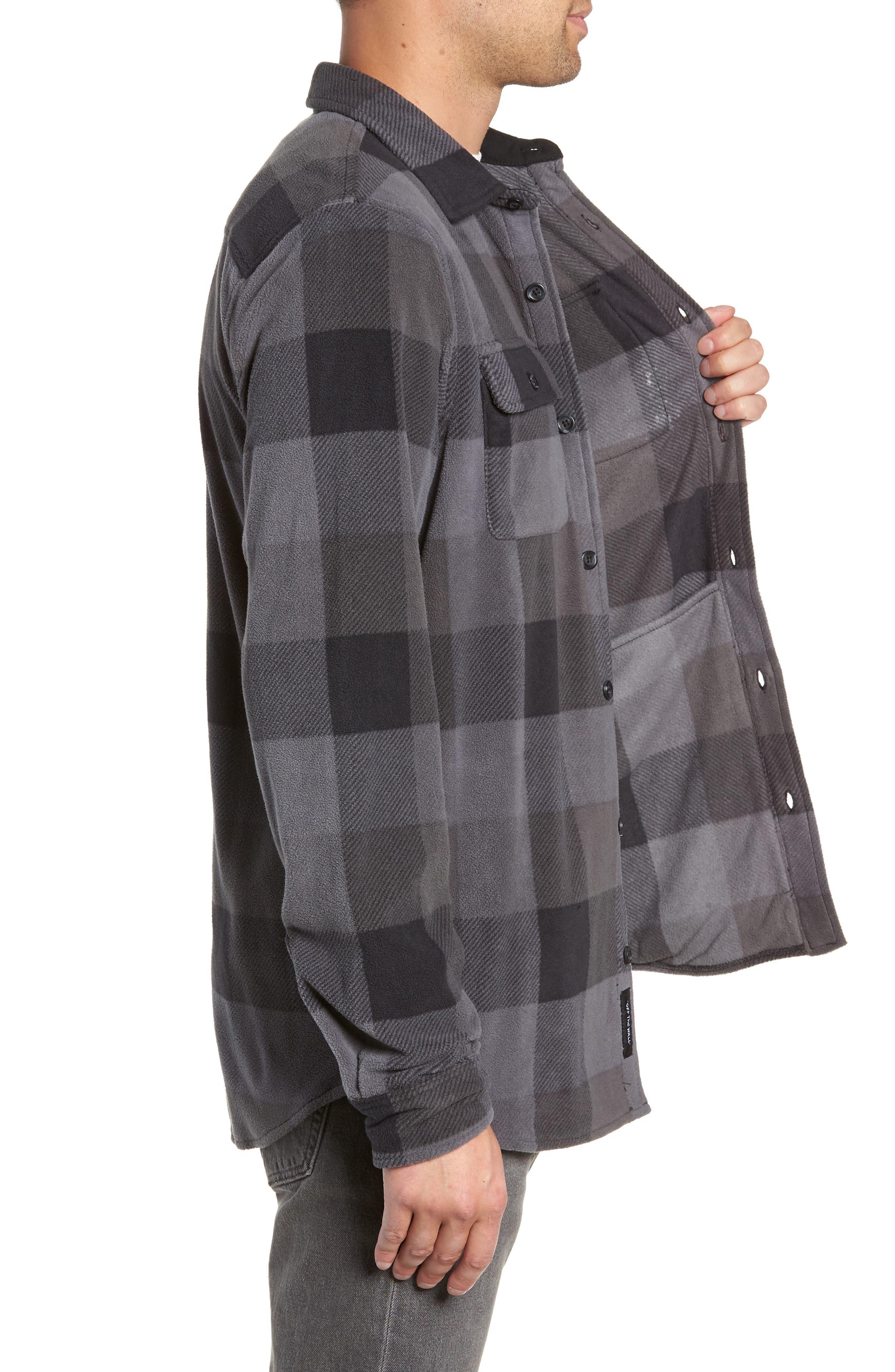 Hillcrest Polar Fleece Shirt Jacket,                             Alternate thumbnail 3, color,                             BLACK/ CHARCOAL