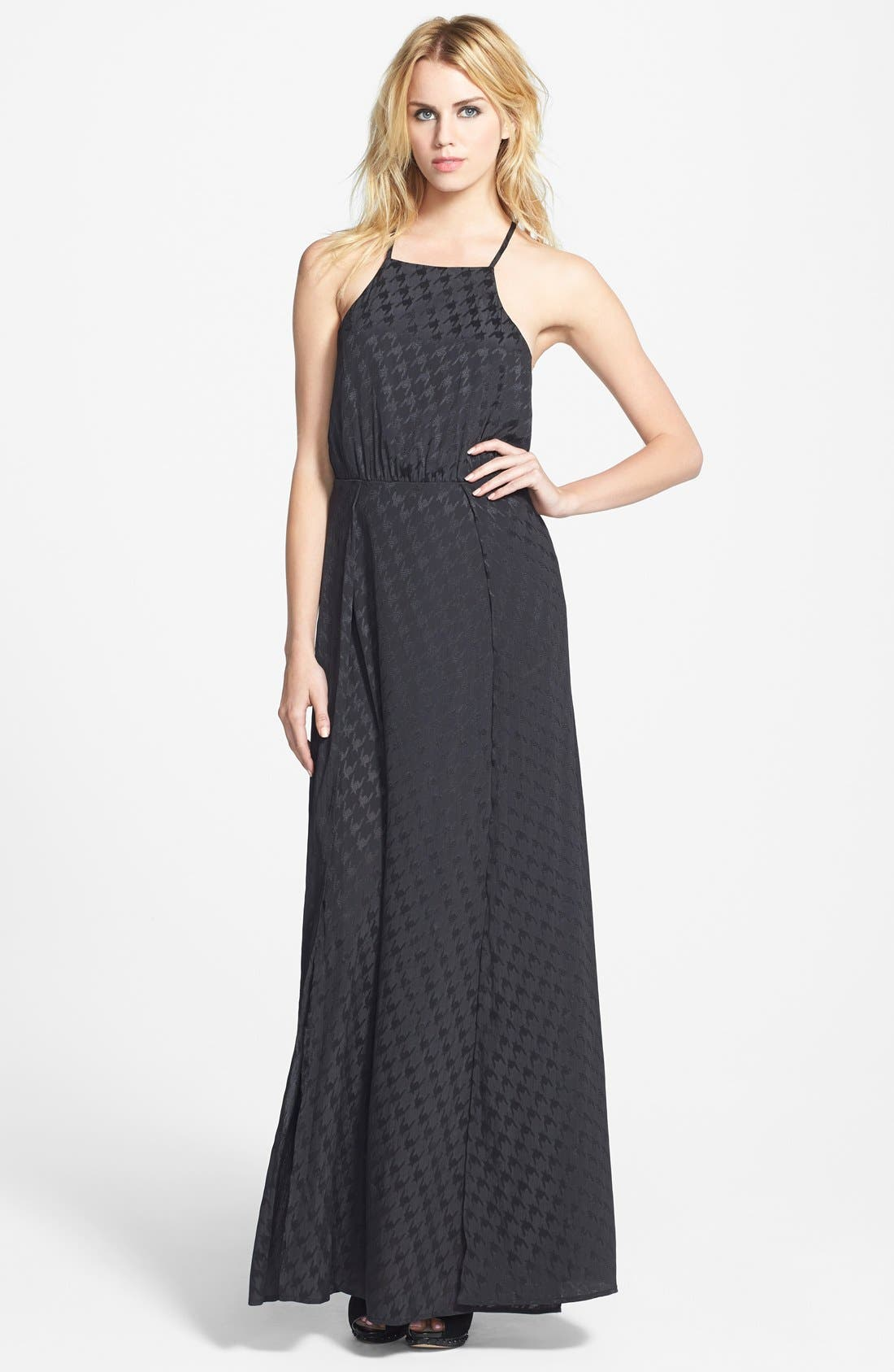 ASTR Jacquard Houndstooth Maxi Dress,                             Main thumbnail 1, color,                             001