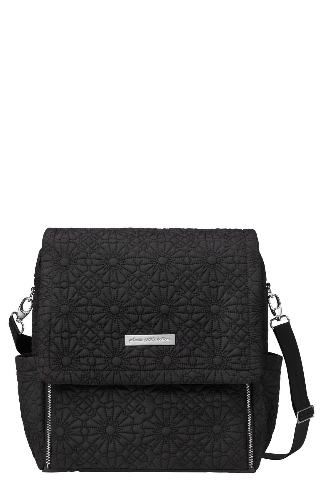'Embossed Boxy' Backpack Diaper Bag,                             Main thumbnail 1, color,                             002