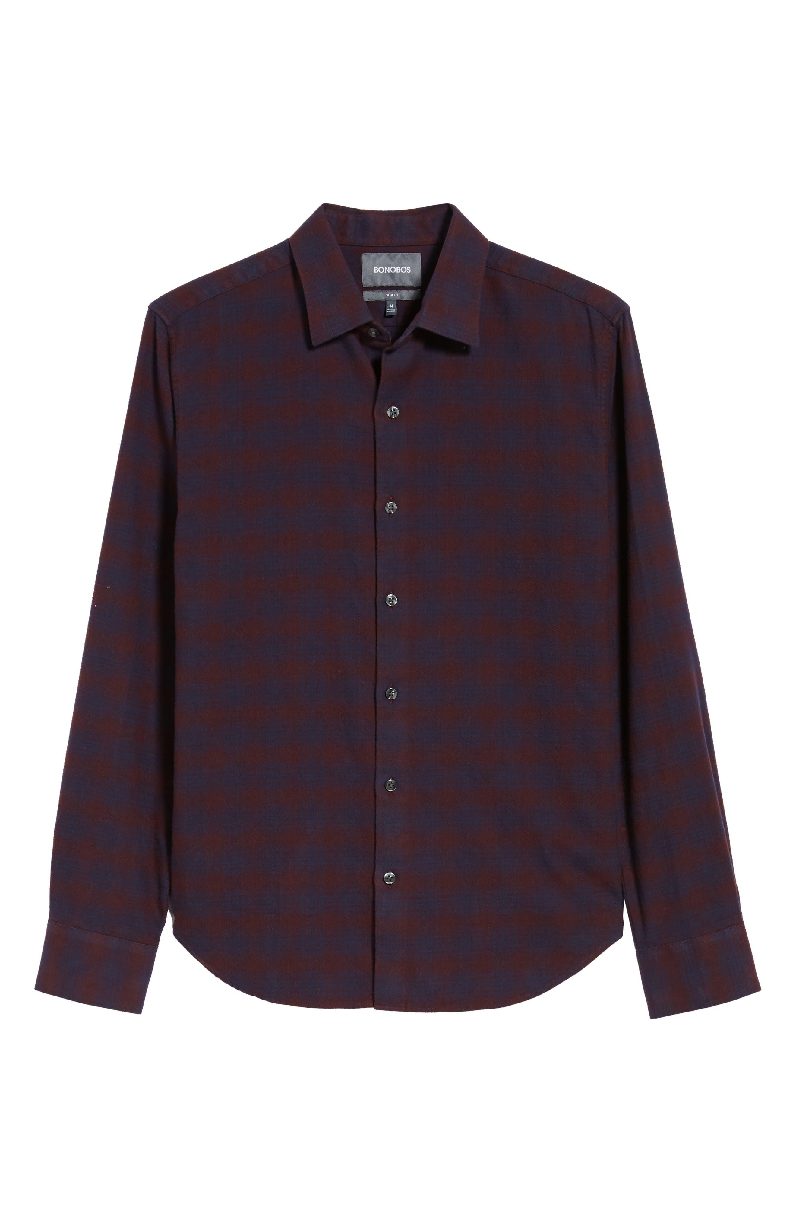 Unbutton Down Slim Fit Check Sport Shirt,                             Alternate thumbnail 5, color,                             ADCROFT CHECK - DAMSON PLUM
