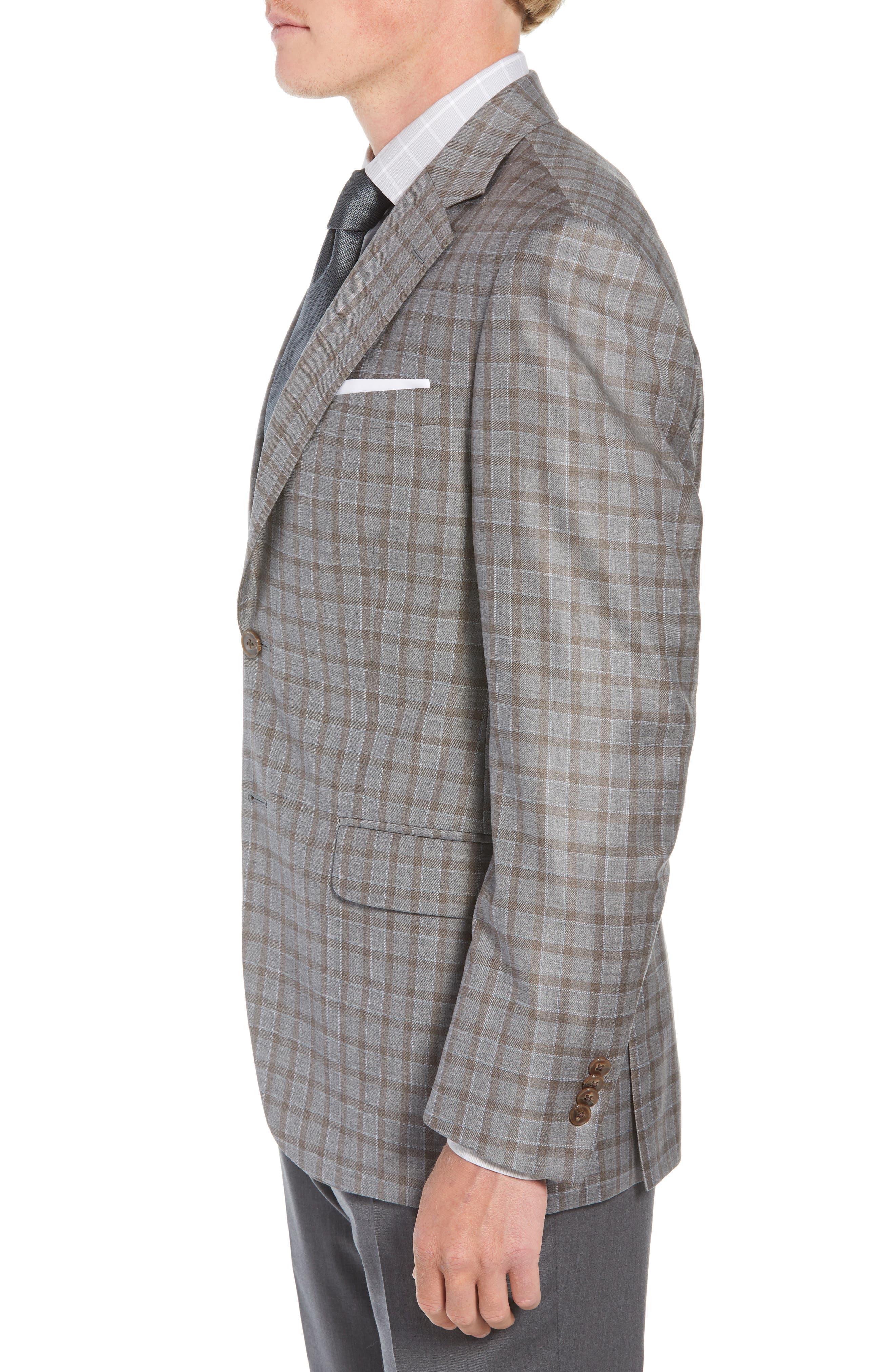 Flynn Classic Fit Check Wool Sport Coat,                             Alternate thumbnail 3, color,                             TAN
