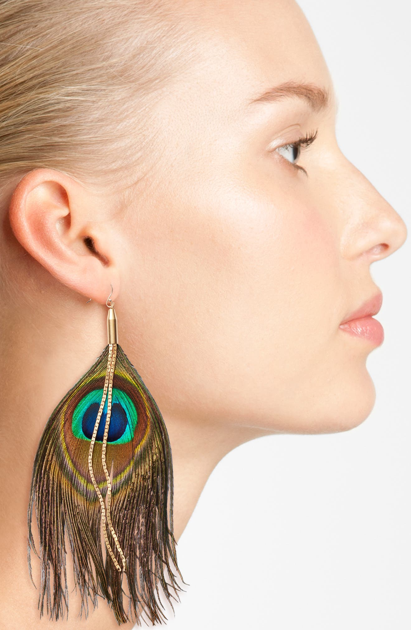 Peacock Feather Earrings,                             Alternate thumbnail 2, color,                             TURQUOISE/ AQUA