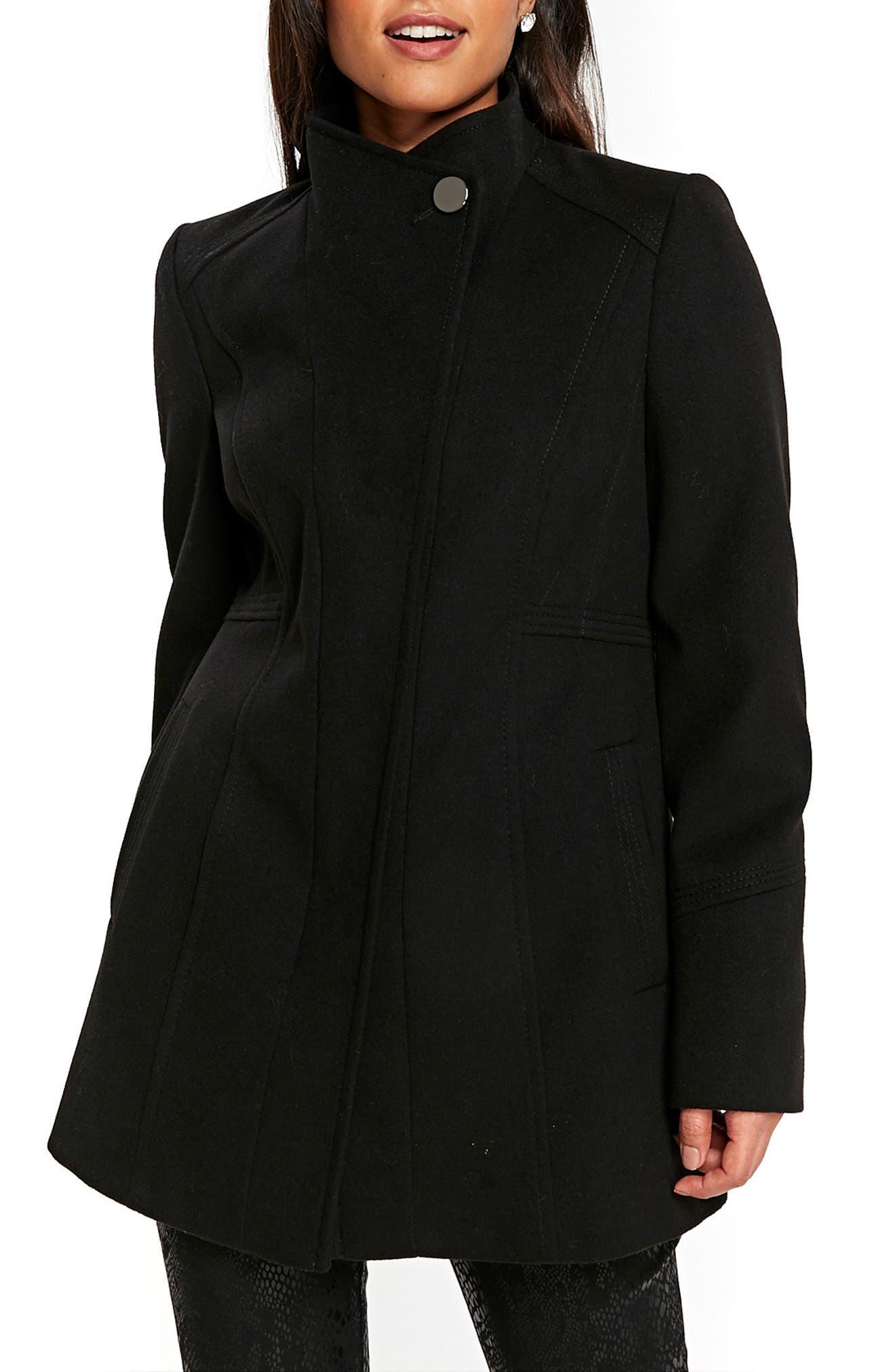 Funnel Neck Coat,                         Main,                         color, 001
