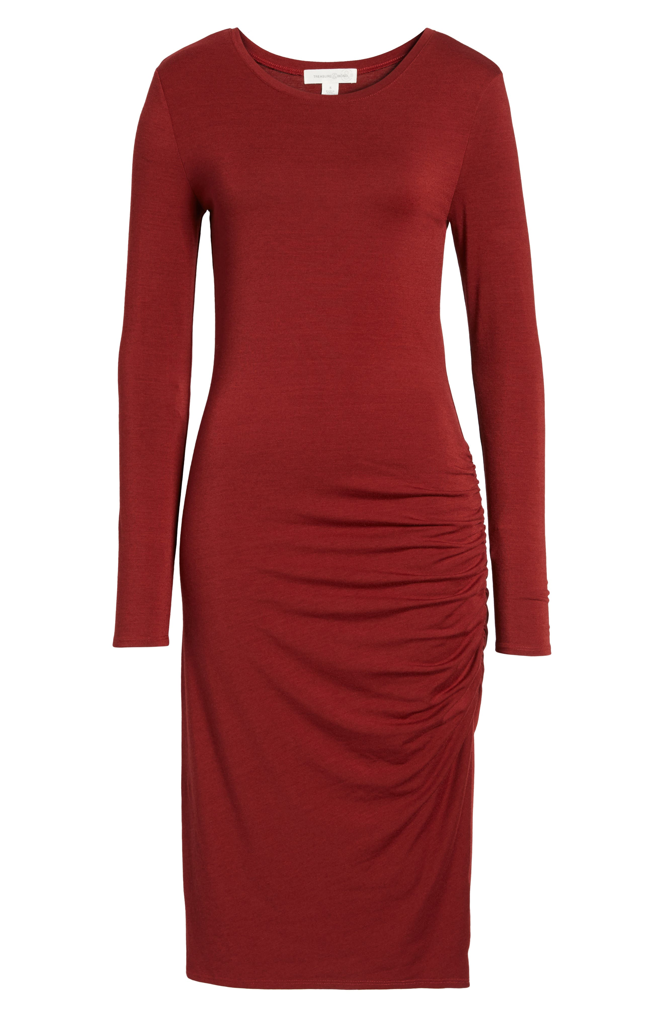 Side Ruched Knit Sheath Dress,                             Alternate thumbnail 12, color,