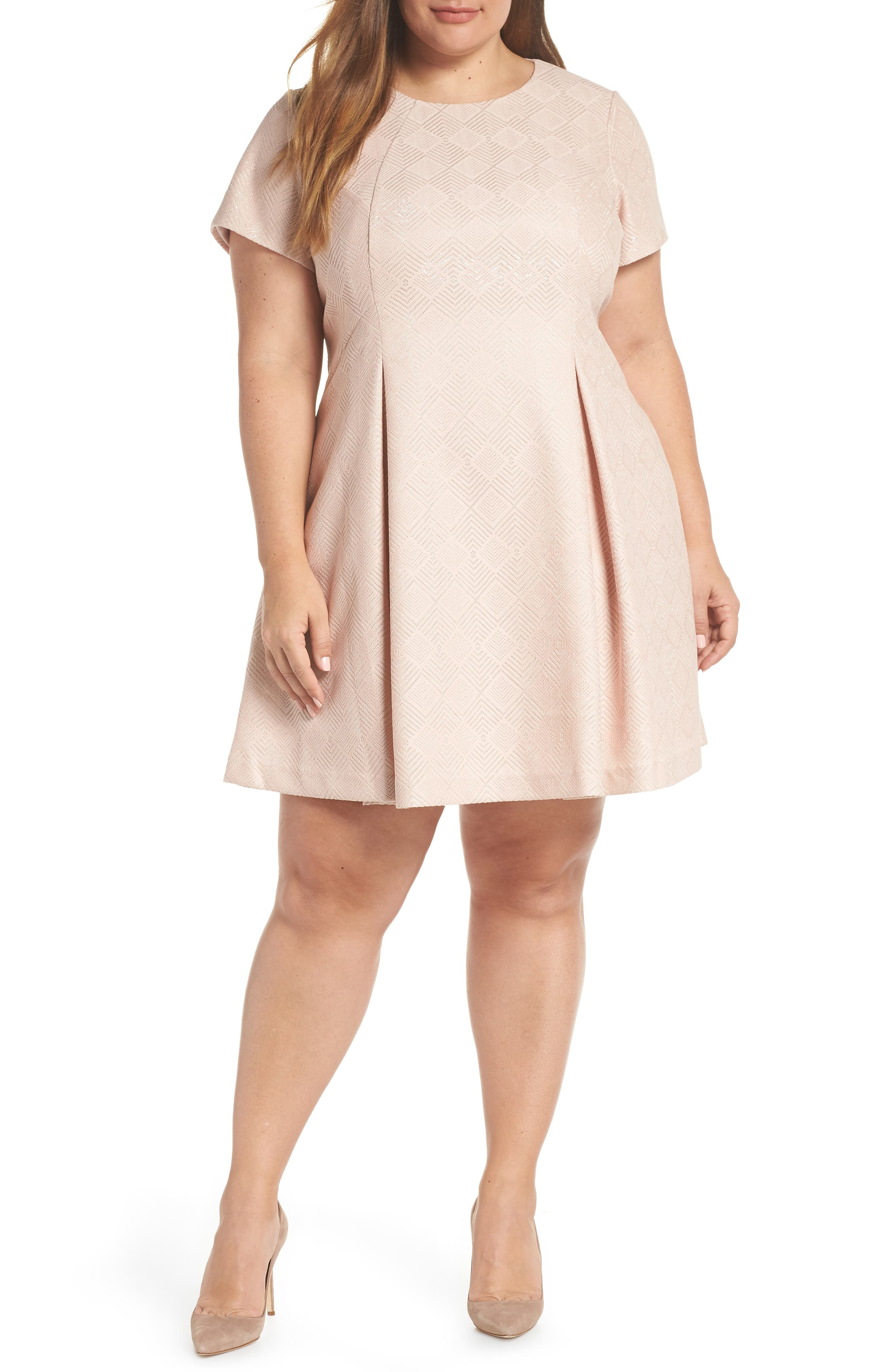 Plus Size Vince Camuto Bonded Lace Fit & Flare Dress, Pink