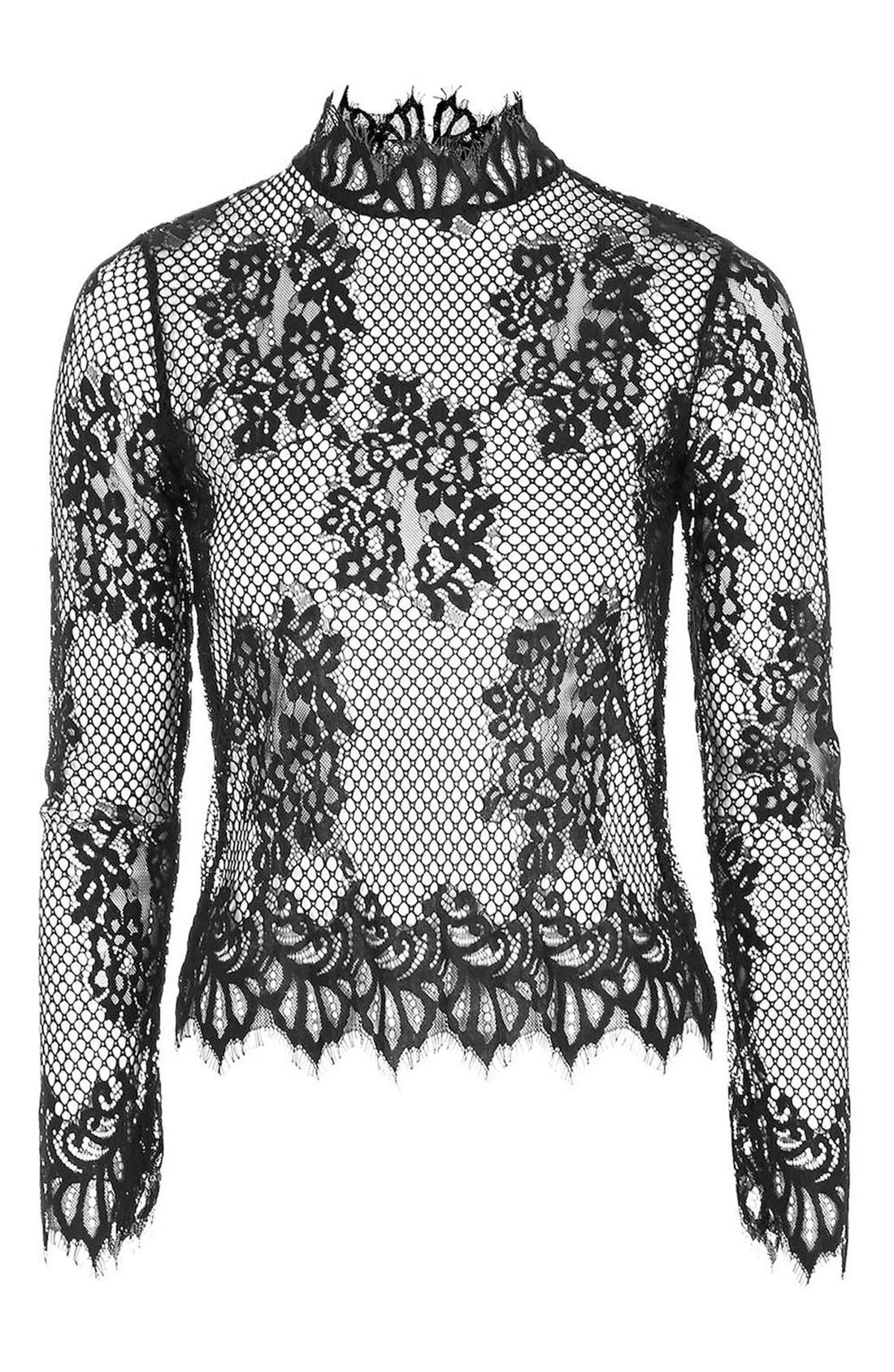 High Neck Sheer Mesh Lace Top,                             Alternate thumbnail 4, color,                             001