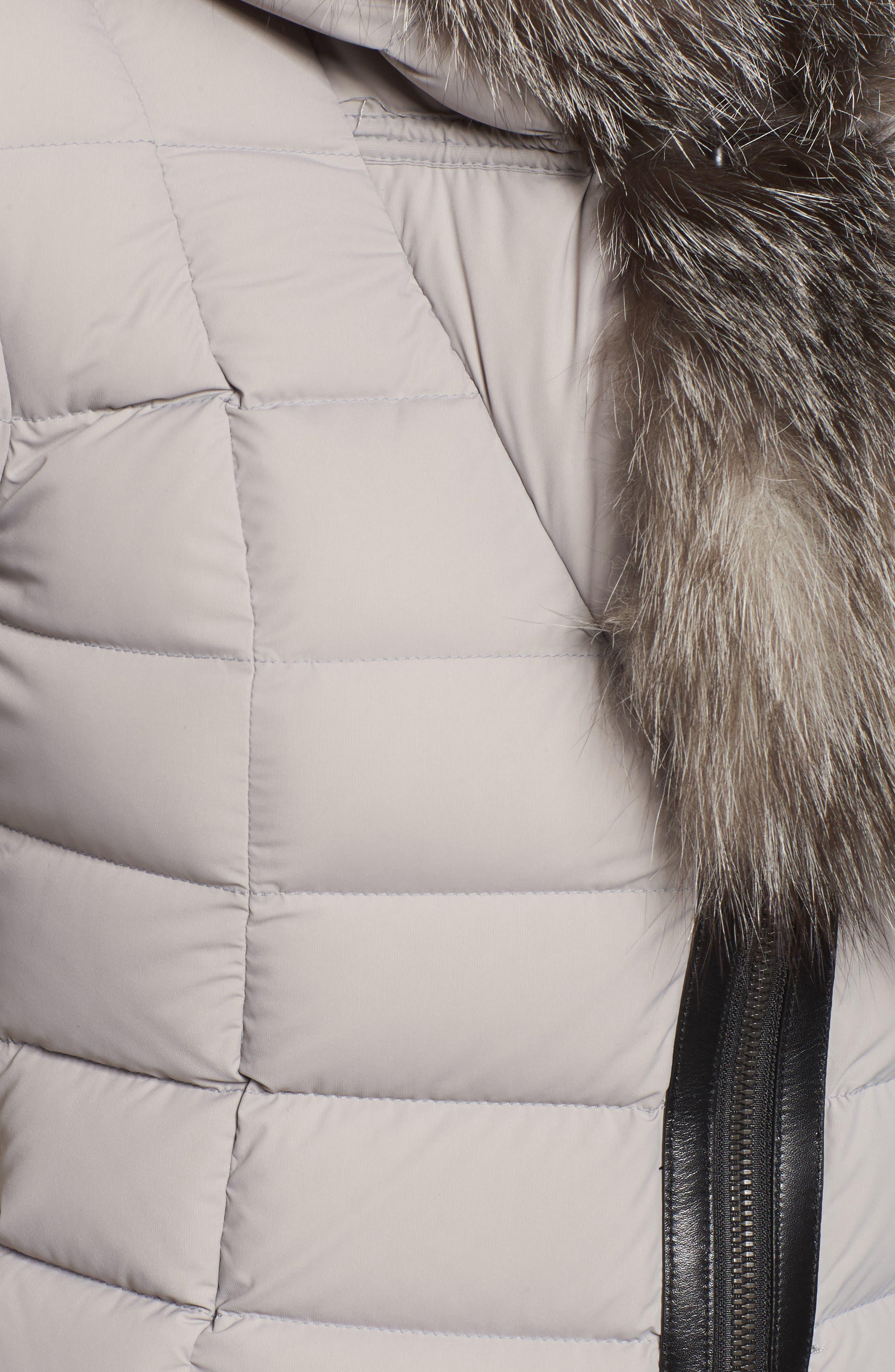 Kadalina Down Jacket with Genuine Fox Fur Trim,                             Alternate thumbnail 5, color,                             082