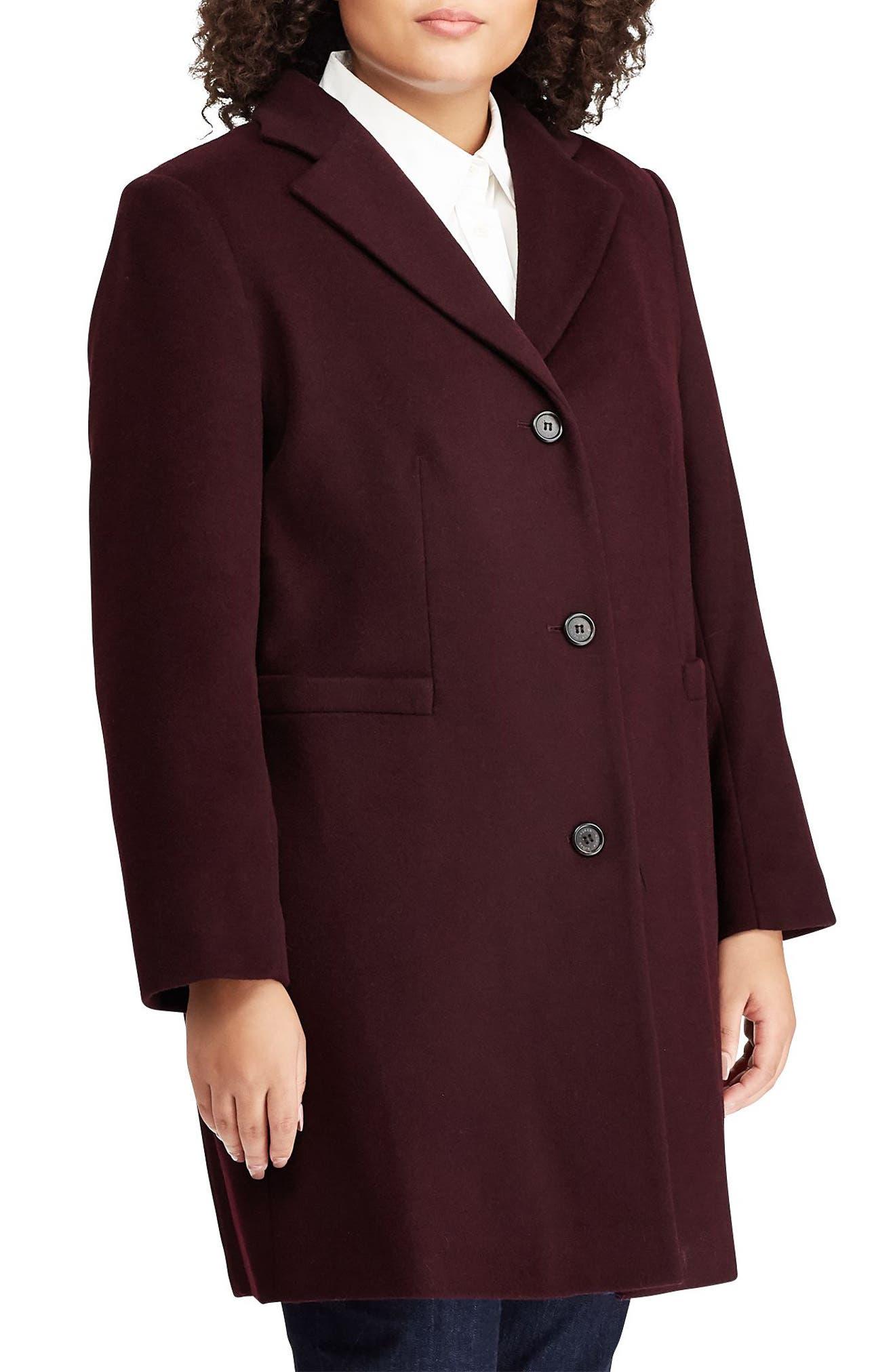 LAUREN RALPH LAUREN Wool Blend Reefer Coat, Main, color, BURGUNDY