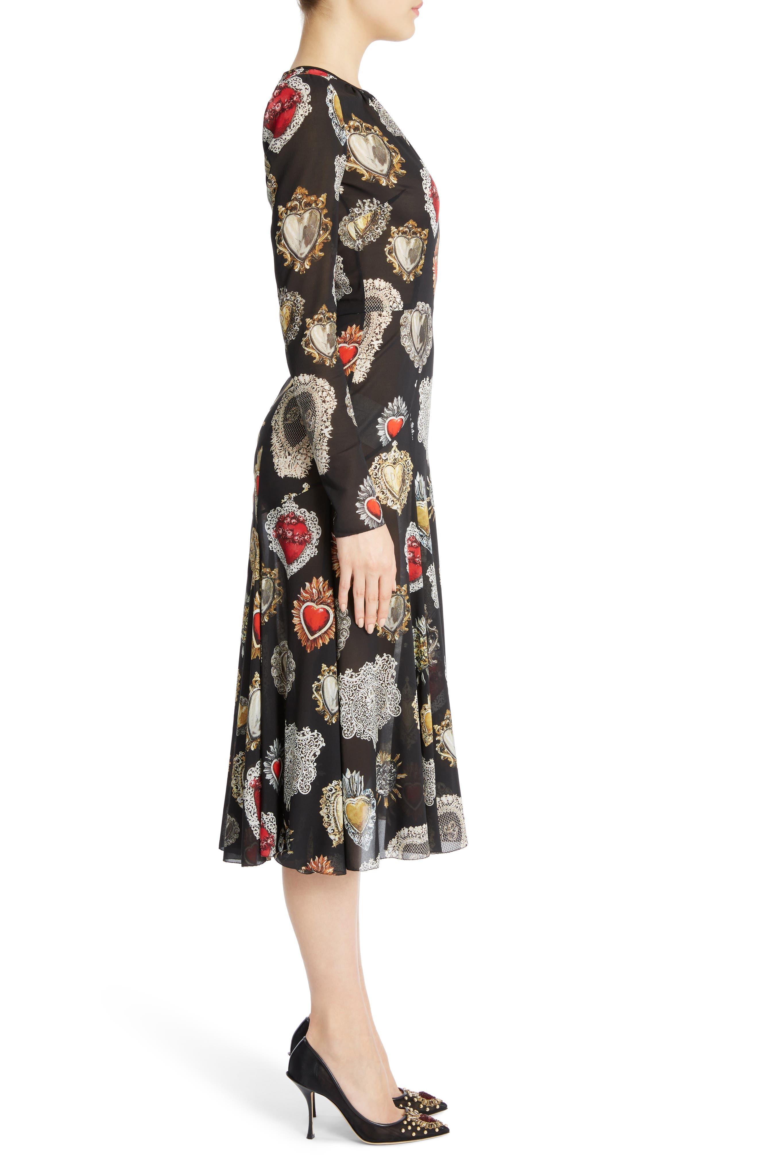Sacred Heart Silk Blend Dress,                             Alternate thumbnail 3, color,                             001